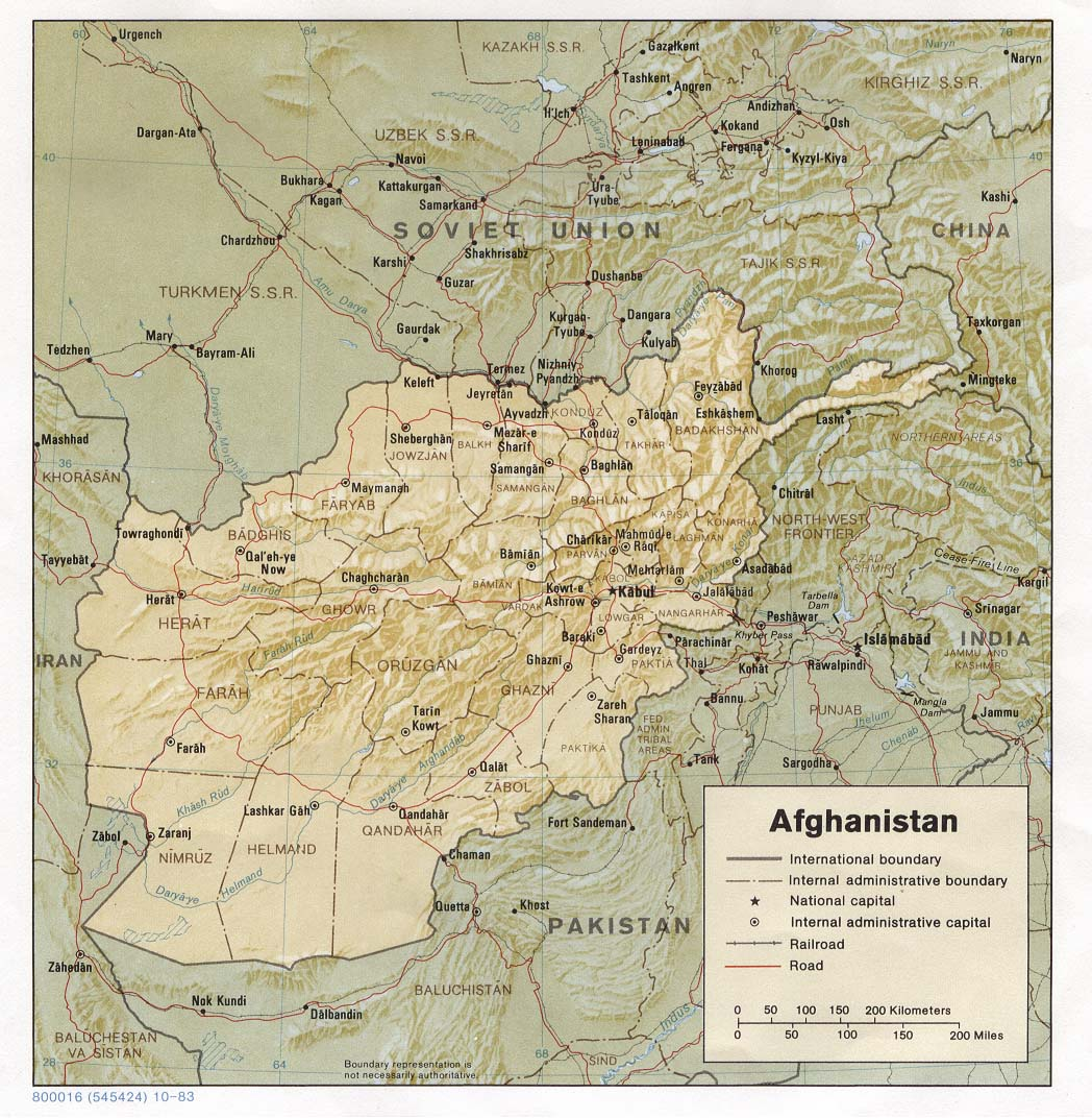 Afghanistan Maps PerryCastañeda Map Collection UT Library Online - Physical map of afghanistan
