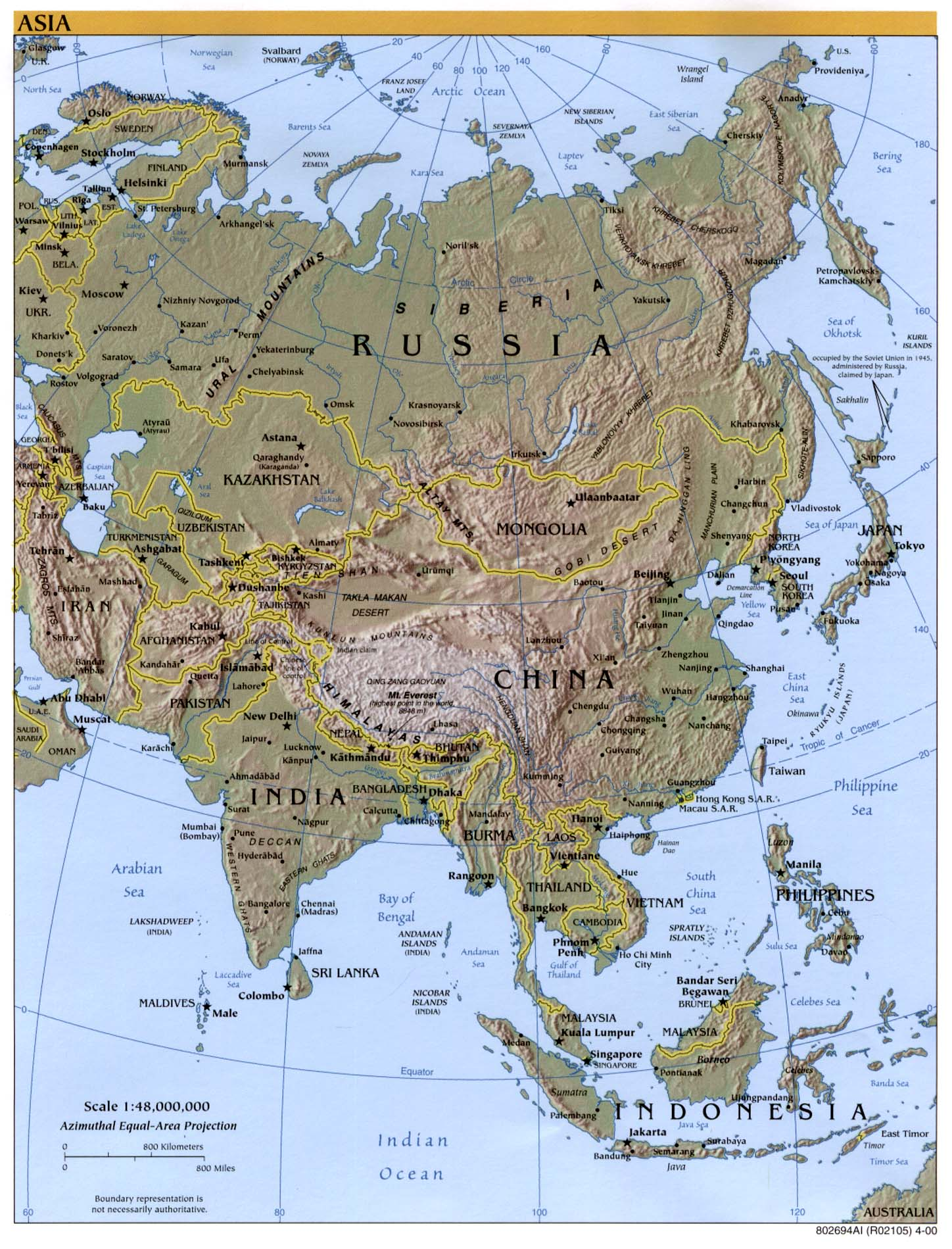 Asian Relief Map