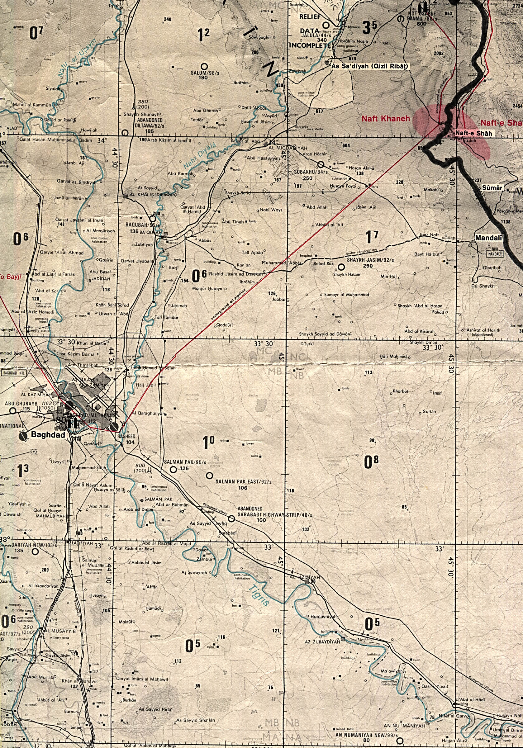 Map Of Iraq Baghdad Region original scale 1:670,000 From Iraq-Iran: Central and Southern Border Areas CIA 1980 (1136K)