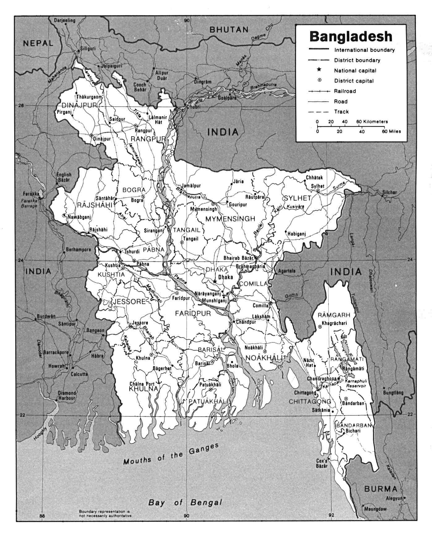 Bangladesh Mapa Politico 1992.