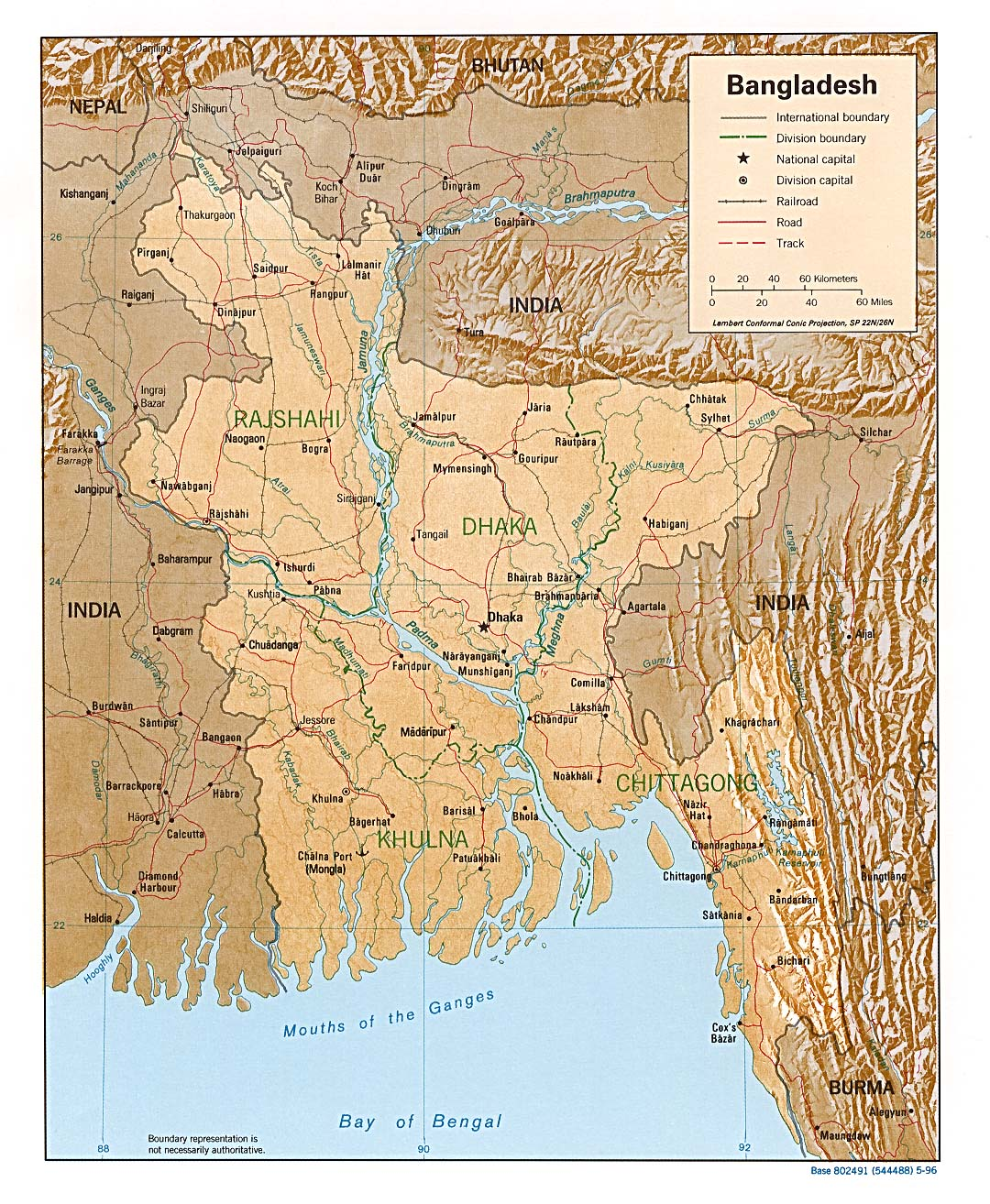 Bangladesh Mapa de Relieve 1996.
