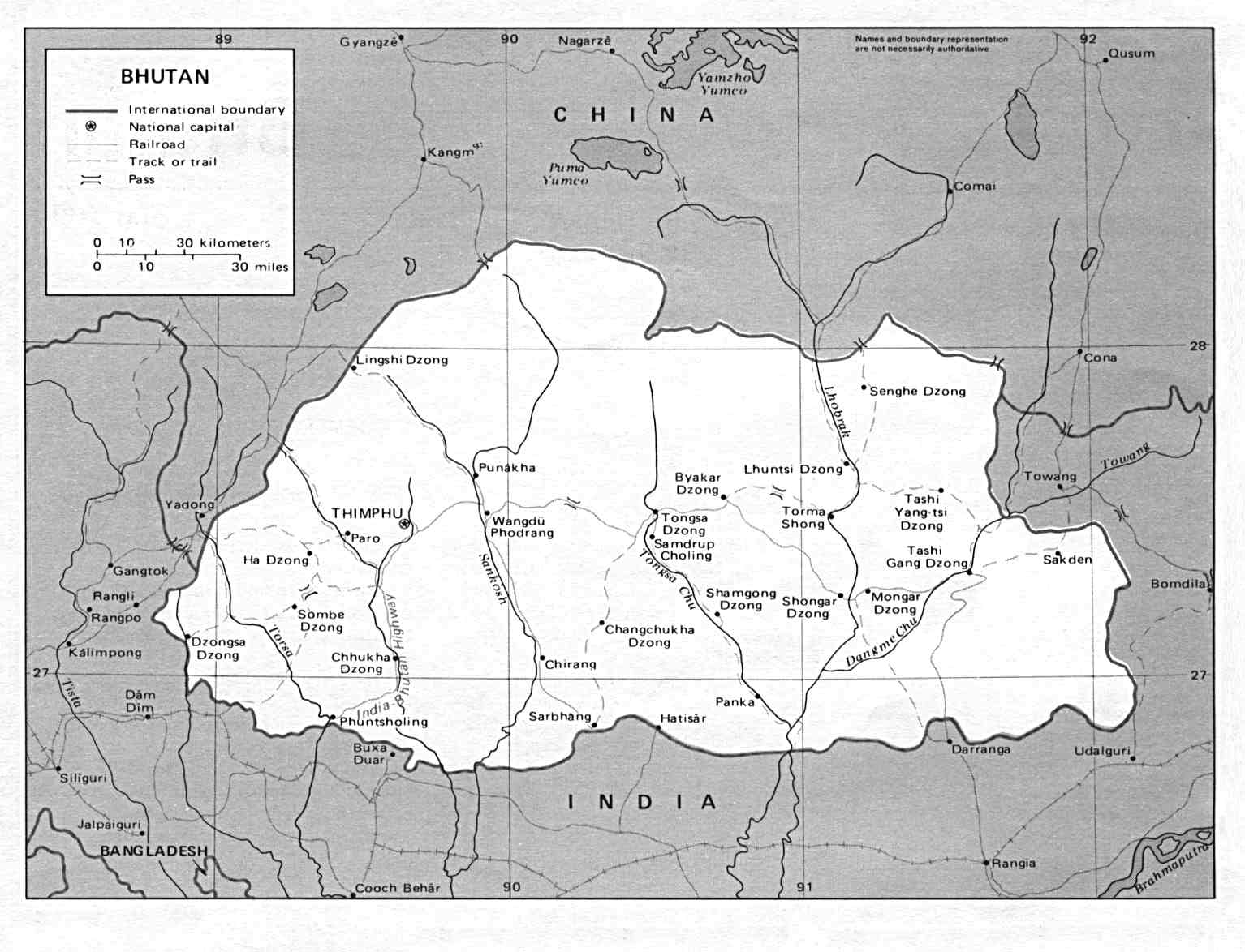 Bhutan Maps PerryCastañeda Map Collection UT Library Online - Bhutan map