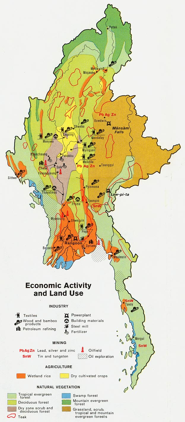 Burma myanmar maps perry castaeda map collection ut library burma economic activity and land use gumiabroncs Gallery