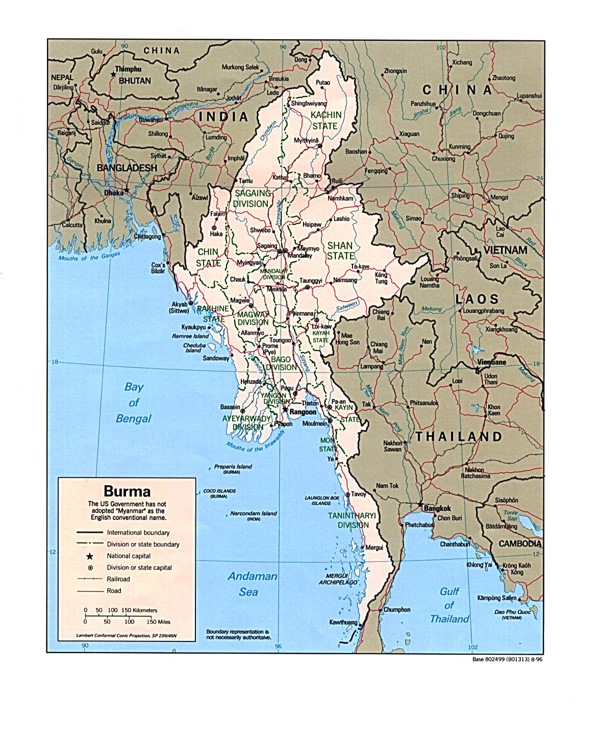 Online burma library reading room maps and satellite imagery title political map of burma 1996 publicscrutiny Image collections