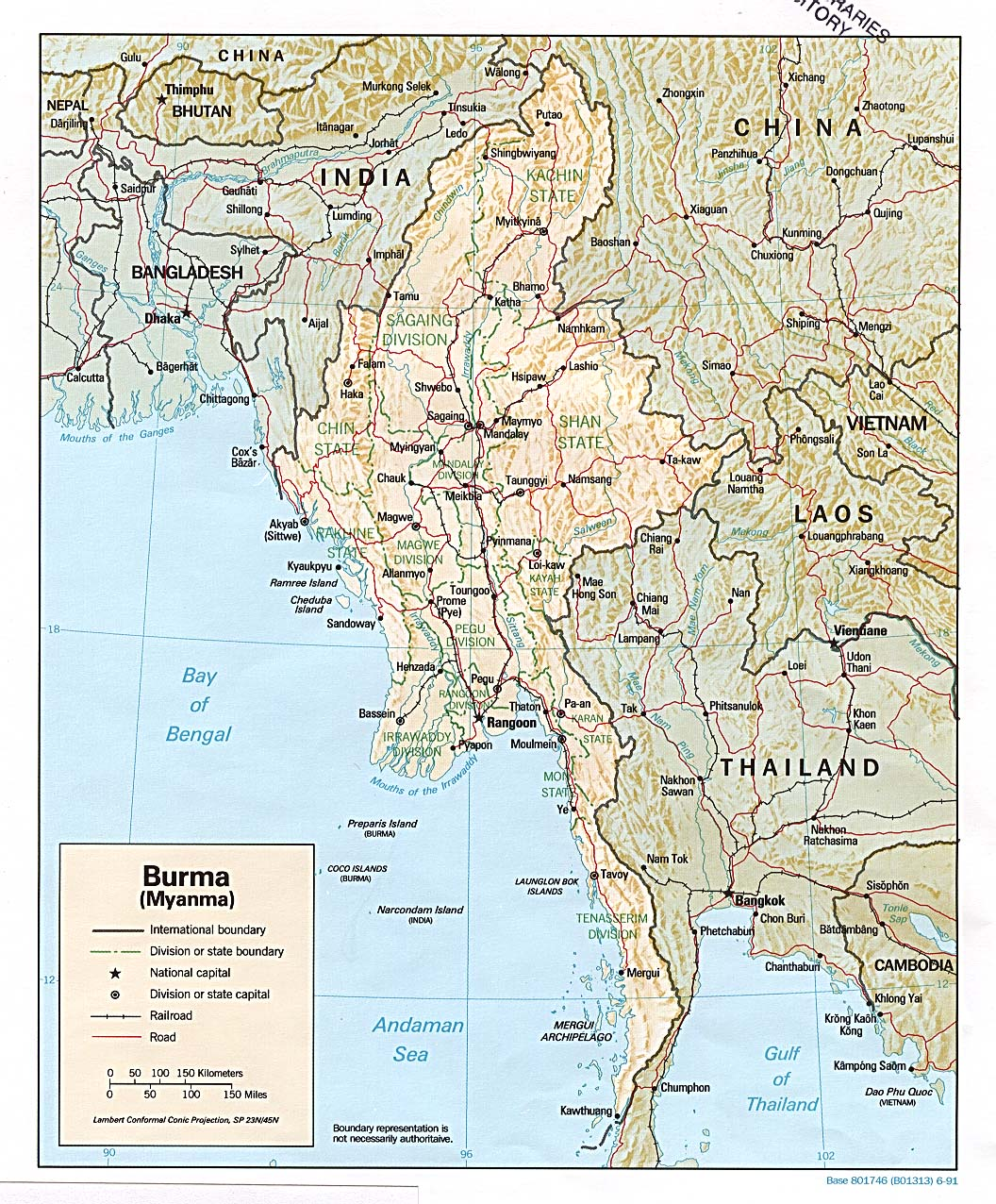 Online burma library reading room maps and satellite imagery title burma shaded relief map 1991 publicscrutiny Image collections