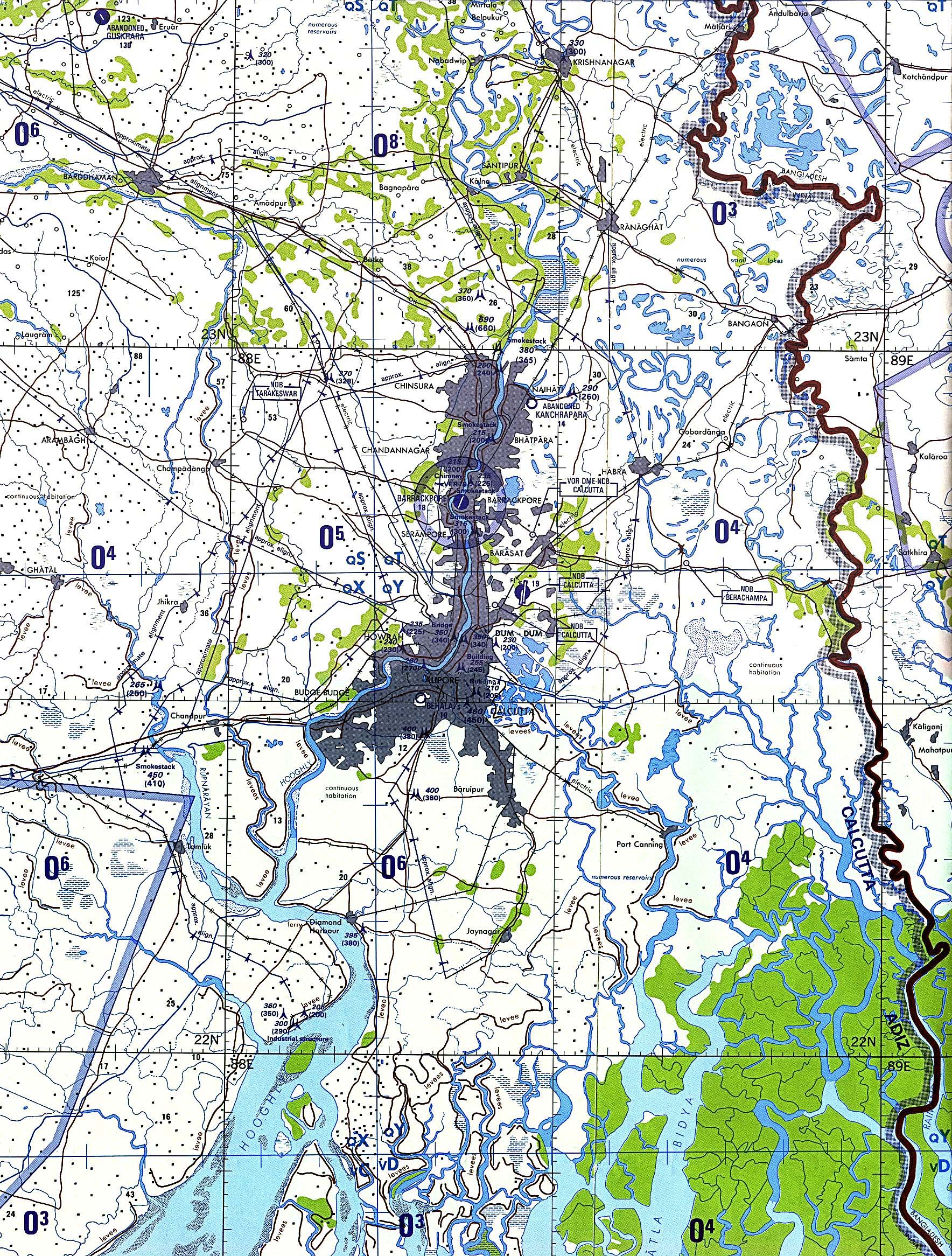 Map Of India , Calcutta (tactical pilotage chart) original scale 1:500,000 Portion of Defense Mapping Agency TPC J-9B 1991 (1.46 MB) Not for navigational use