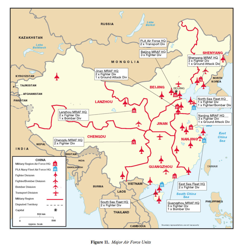 Military Power Of The Peoples Republic Of China Maps Perry - Us map in chinese
