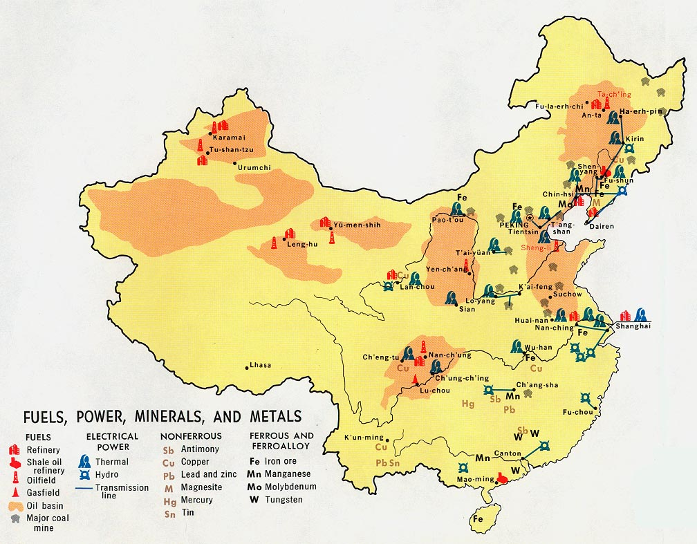 China Fuels Power Minerals And Metals From Map