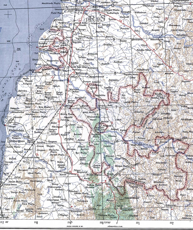 Damao (Daman) 1954 Mapa topográfico.