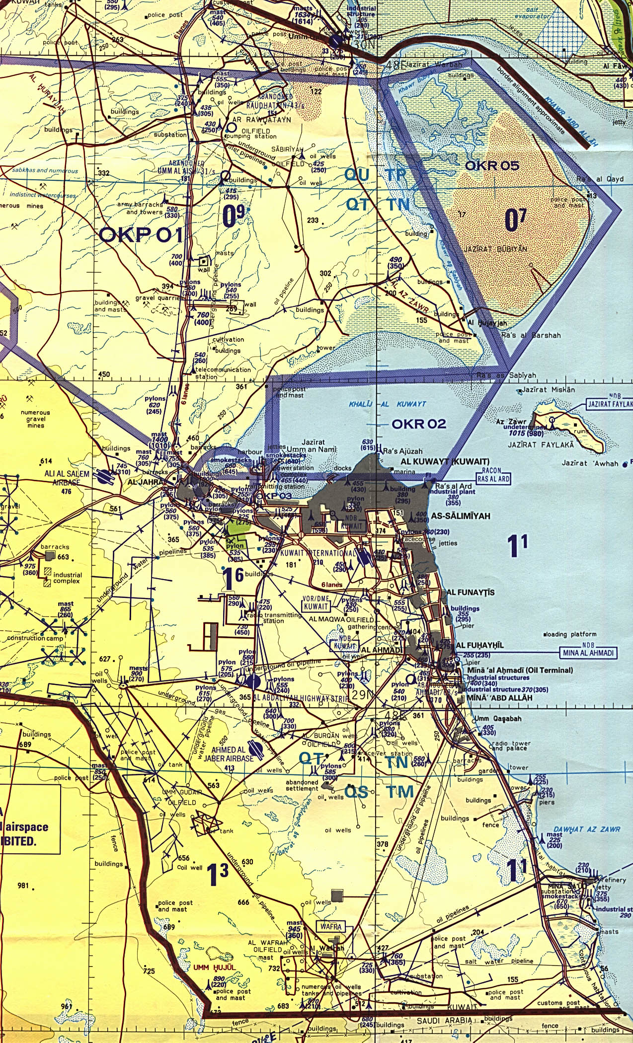 Map of Kuwait Eastern Kuwait and Kuwait City (tactical pilotage chart) original scale 1:500,000 Portion of Defense Mapping Agency TPC H-6B 1991 (952K) Not for navigational use