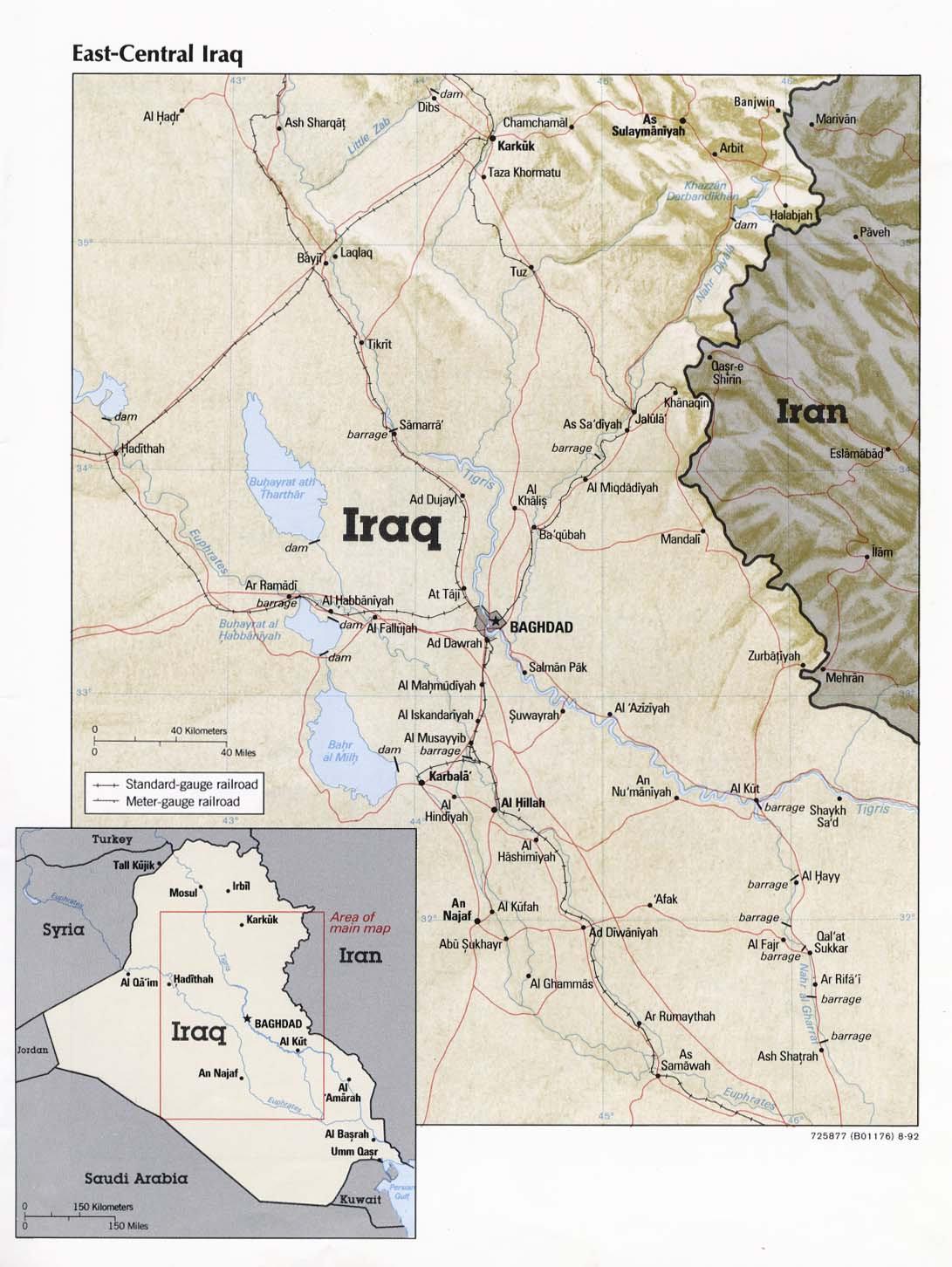 East-Central Iraq From Iraq a Map Folio CIA 1992