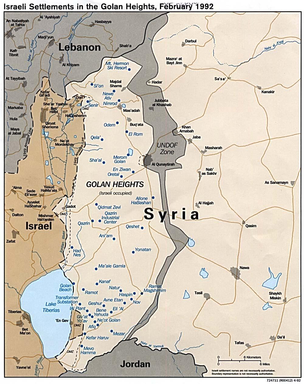 Establecimientos israelíes in el Golan Heights 1992..