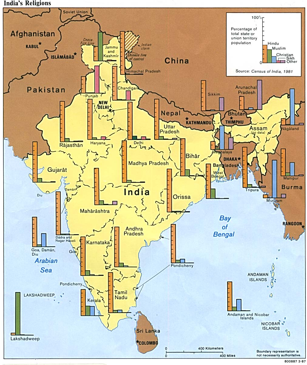 Map Of India , India's Religions 1987 (224K)
