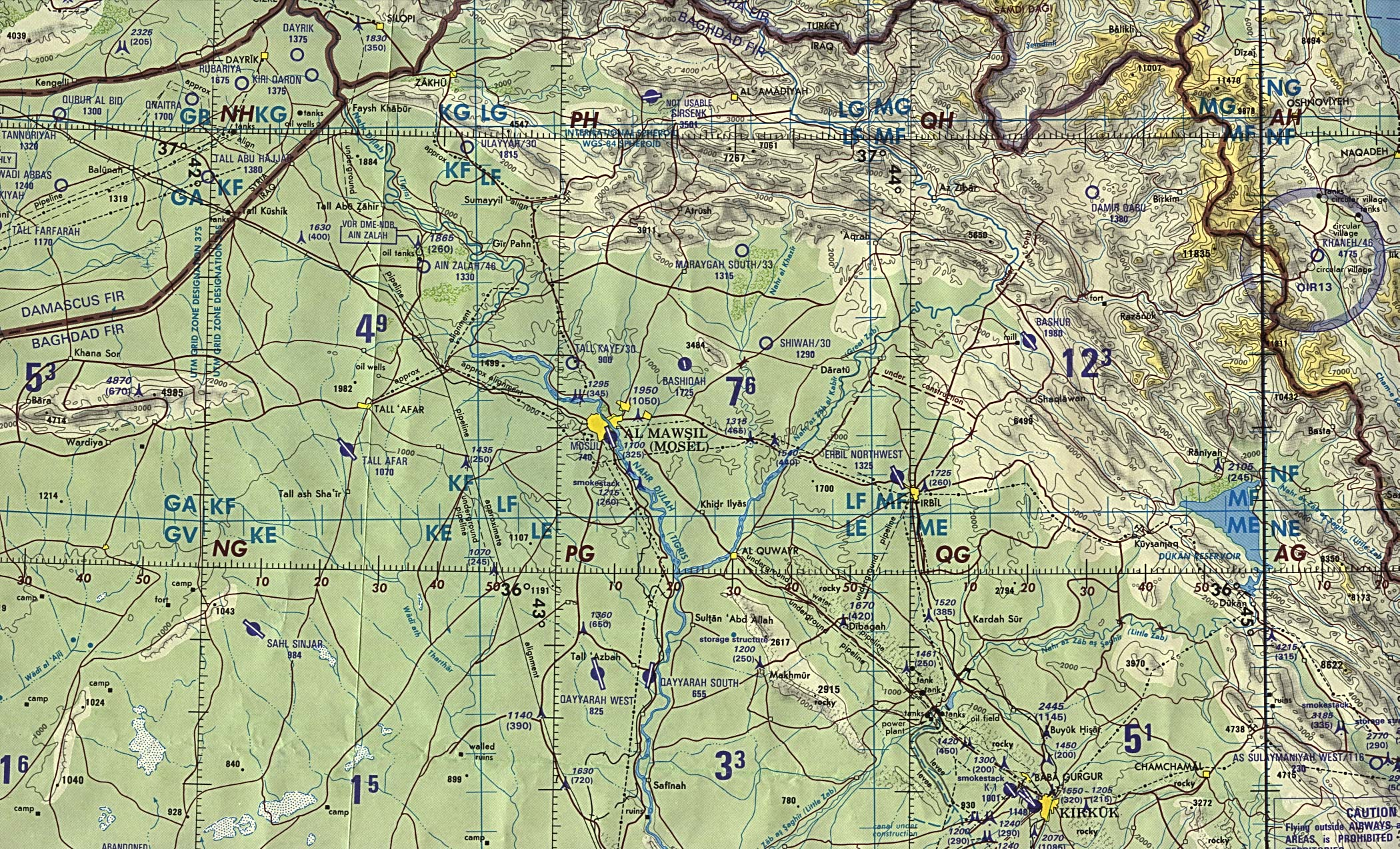 Map Of Iraq Northern Iraq (operational navigation chart) original scale 1:1,000,000 Portion of Defense Mapping Agency ONC G-4 1990 (1MB) Not for navigational use