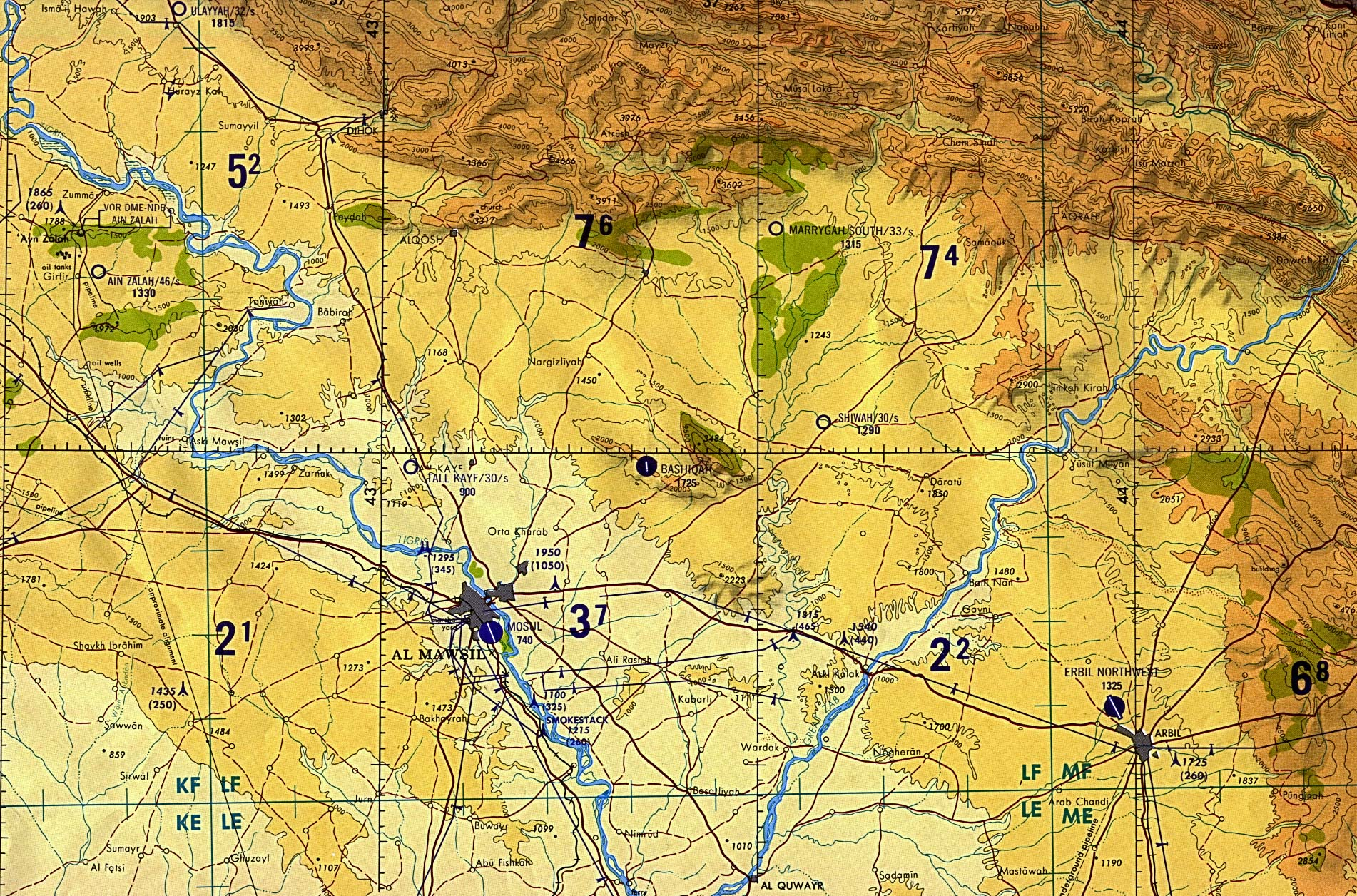 Map Of Iraq Al Mawsil [Mosul]-Arbil Region, Northern Iraq (tactical pilotage chart) original scale 1:500,000 Portion of Defense Mapping Agency TPC G-4B 1989 (927K) Not for navigational use