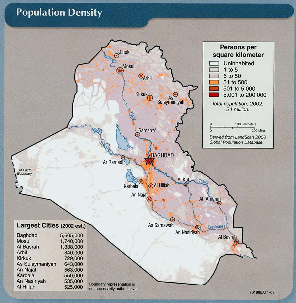 Iraq maps perry castaeda map collection ut library online iraq population density gumiabroncs Choice Image