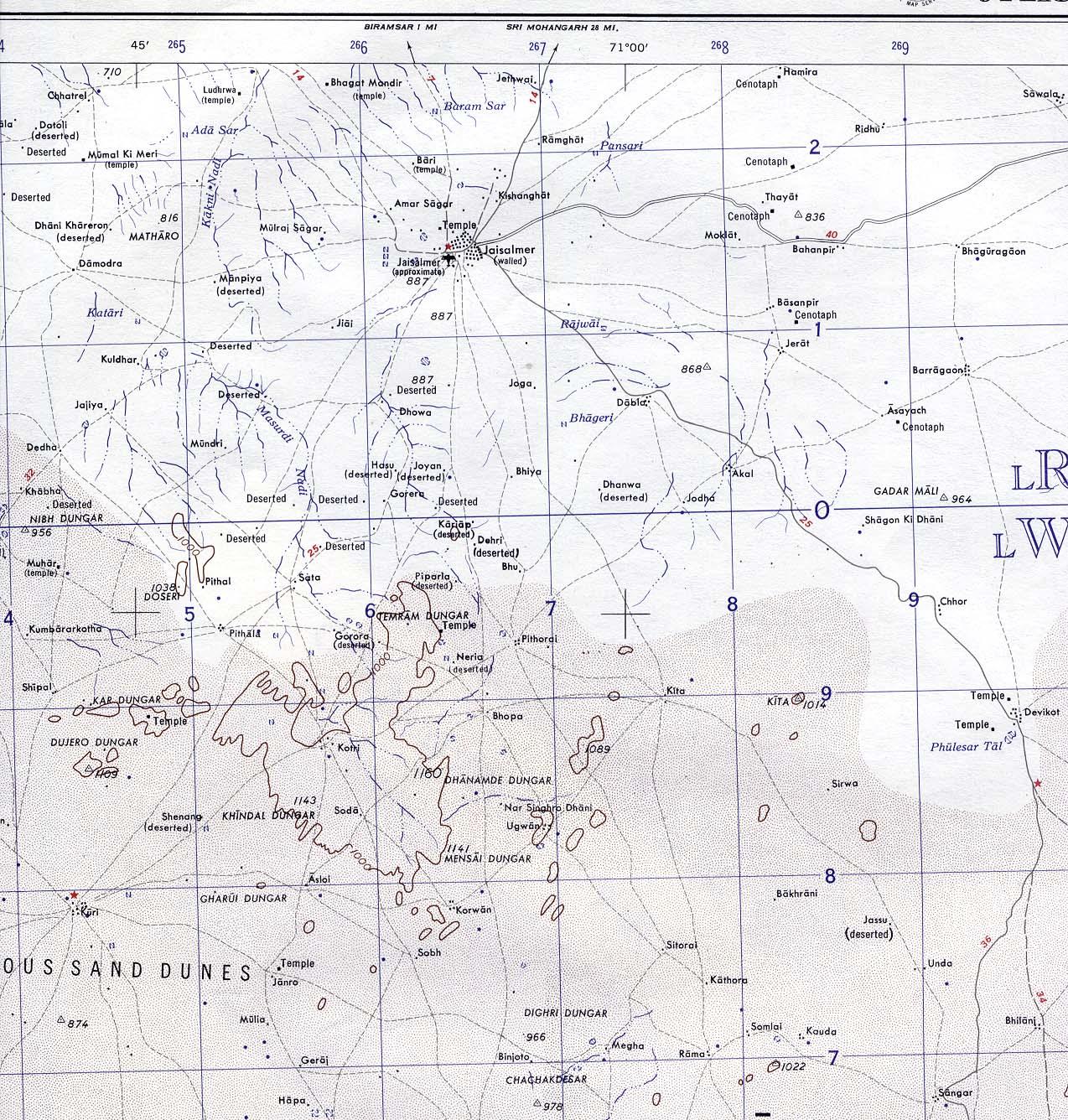 Jaisalmer Rajasthan Mapa topográfico 1959.