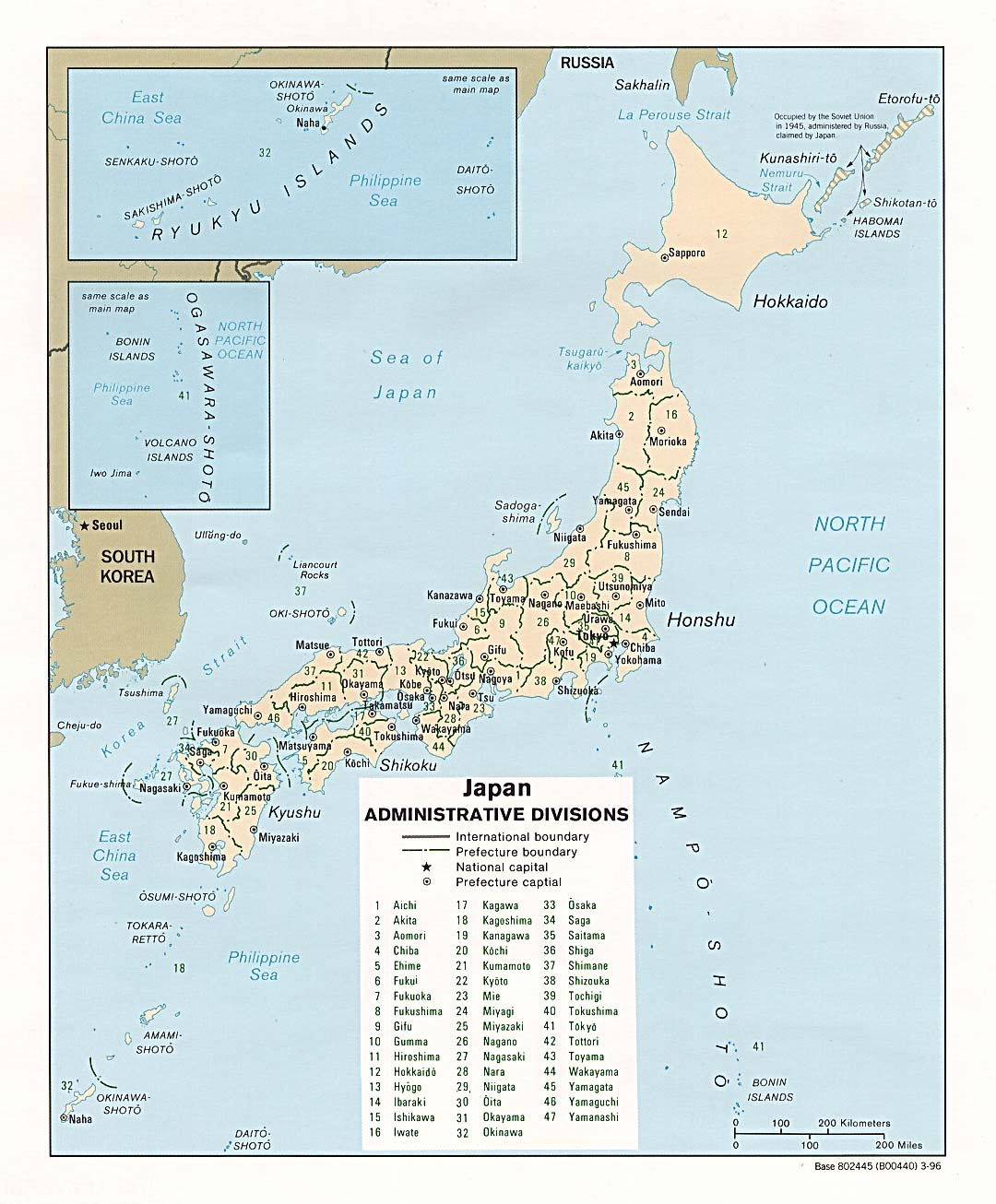 Map Of Japan With Prefectures.Japan