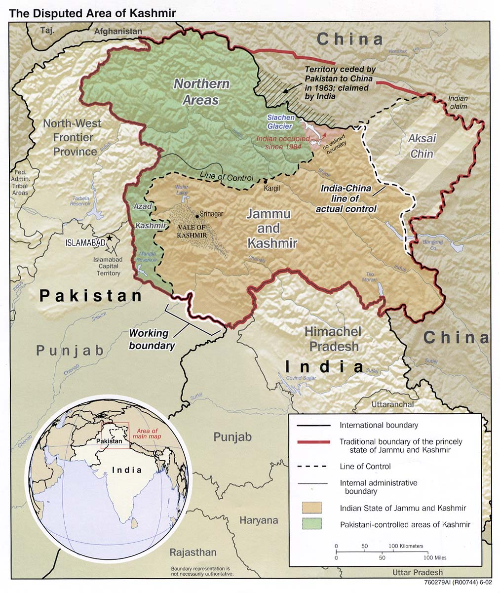 Kashmir Maps PerryCastañeda Map Collection UT Library Online - Map 100 Miles Us Border