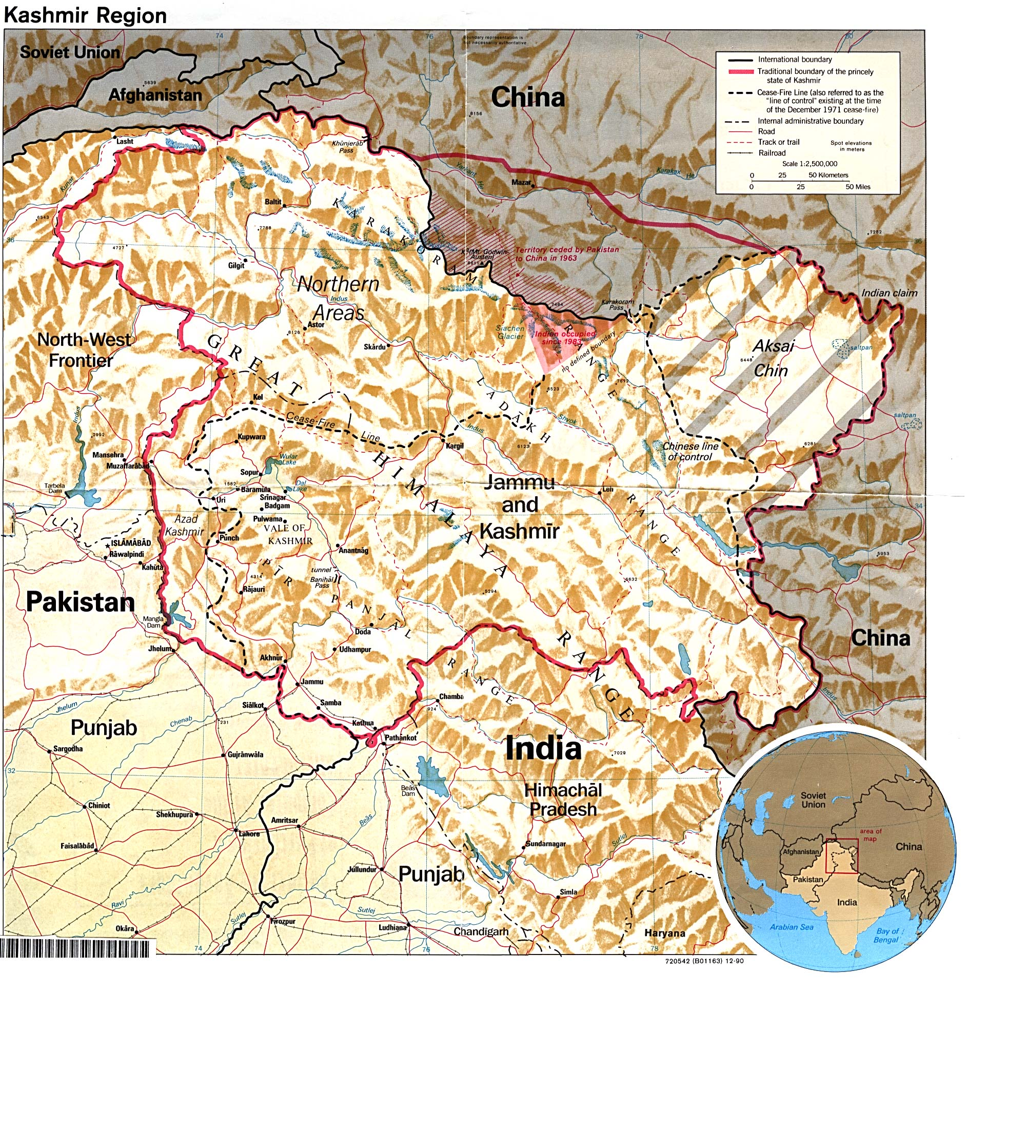 Map Of India And Pakistan Border.Kashmir Maps Perry Castaneda Map Collection Ut Library Online