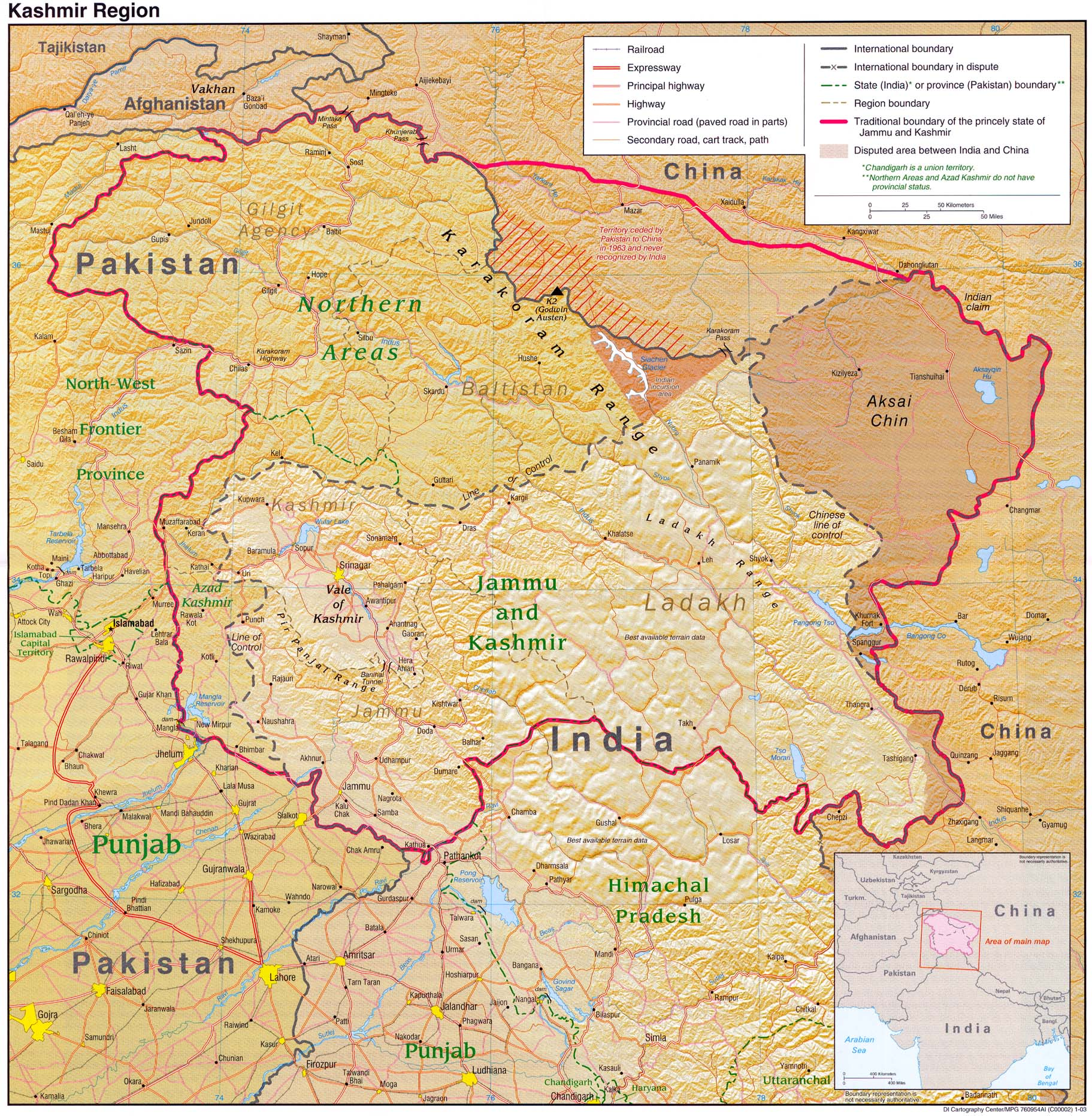 Kashmir maps perry castaeda map collection ut library online kashmir maps gumiabroncs Images
