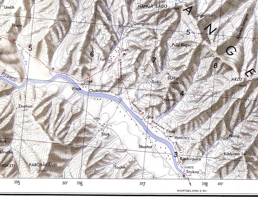 leh topographic map original scale 1 250 000 portion of u s army map service series u502 sheet ni 43 8 1955 217k