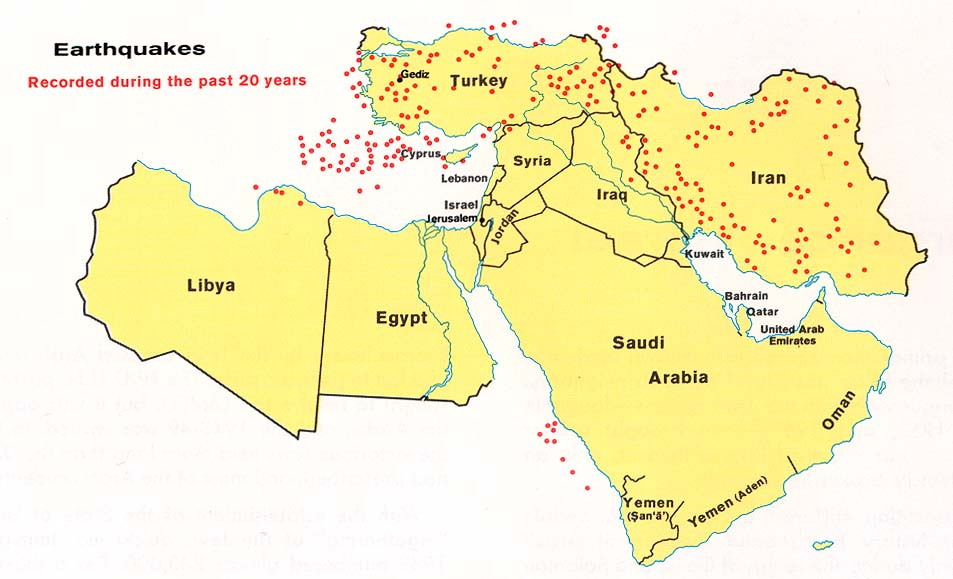 Middle east maps perry castaeda map collection ut library online middle east earthquakes gumiabroncs Images