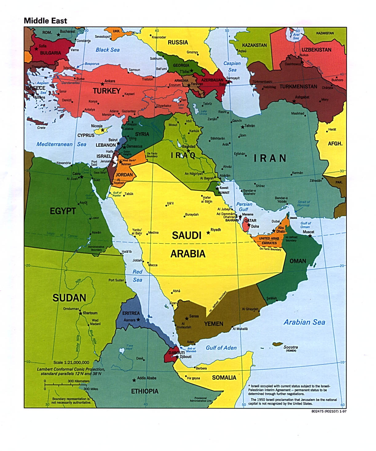 Map Of Middle East Continent. Middle East [Political Map] 1997 (315K)