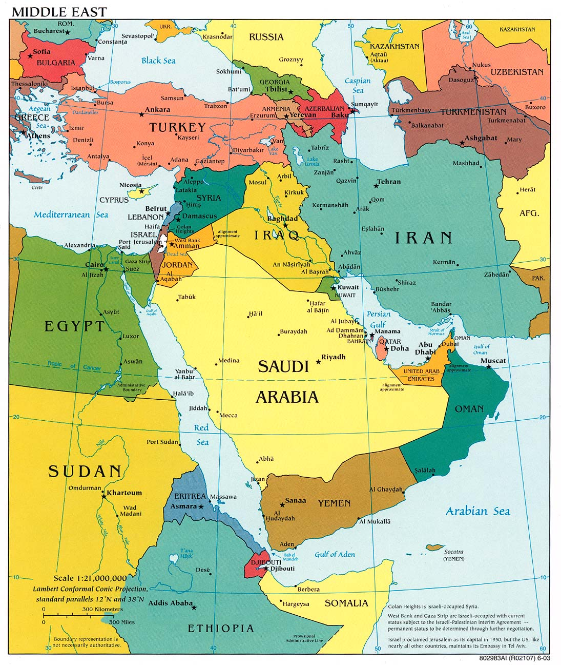 This is a picture of Bright Printable Map of Middle East