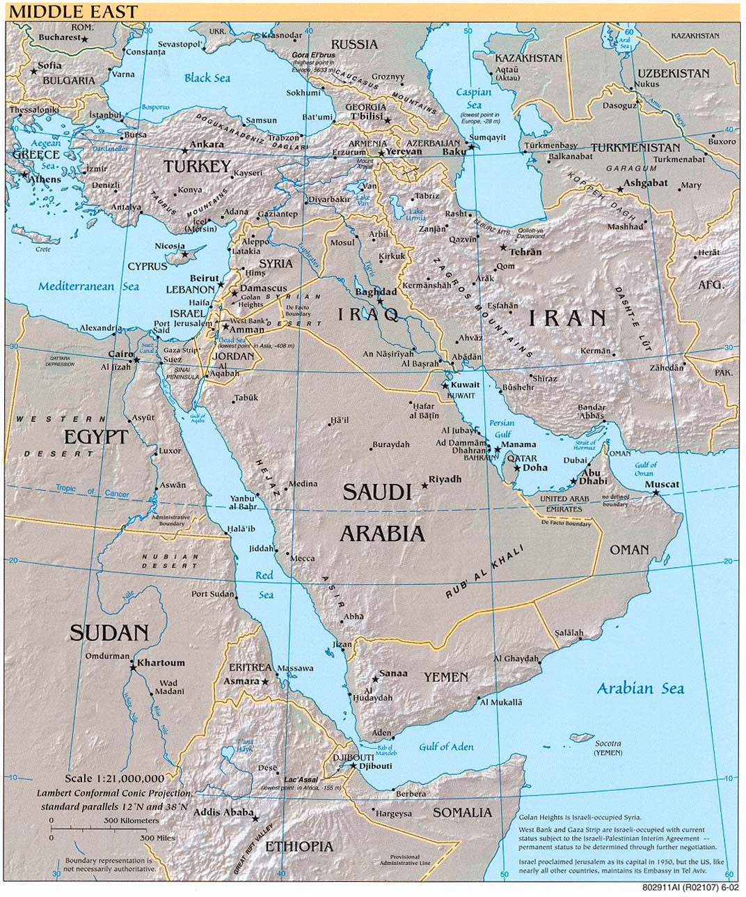 Middle East Road Map Map of The Middle East
