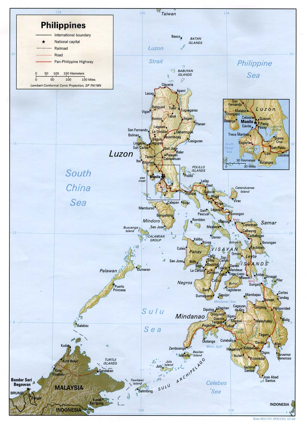 Map Of Philippines , Philippines [Shaded Relief Map] 1993 (207K)