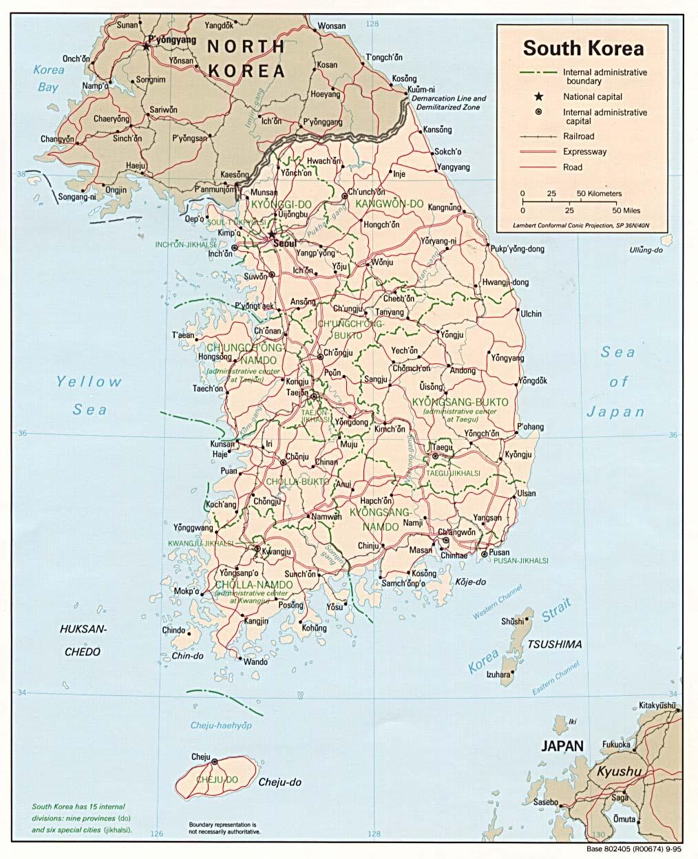 Country Maps SOUTH AND NORTH KOREA – grameentour.com