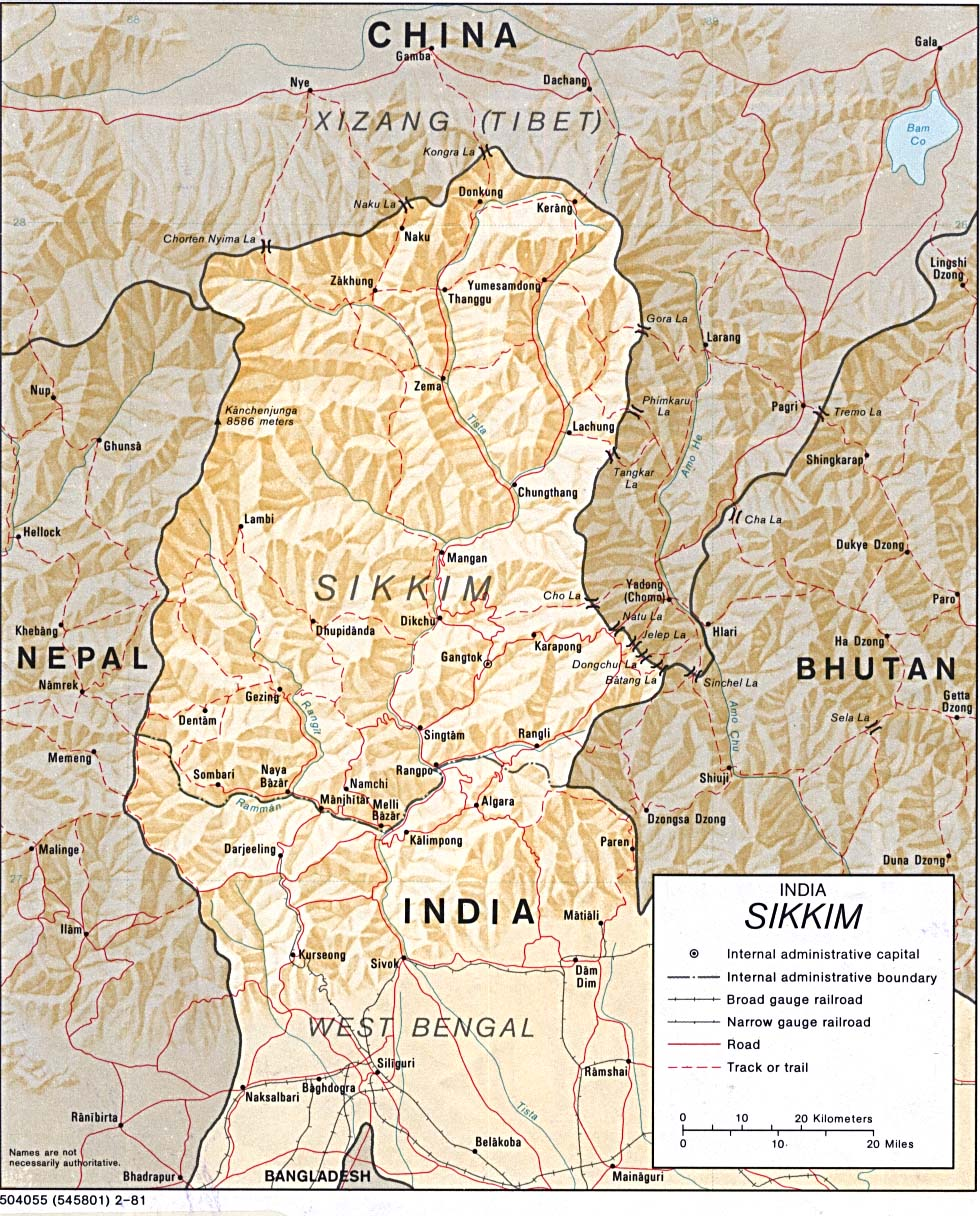 Map Of India , Sikkim [Shaded Relief Map] 1981 (302K)