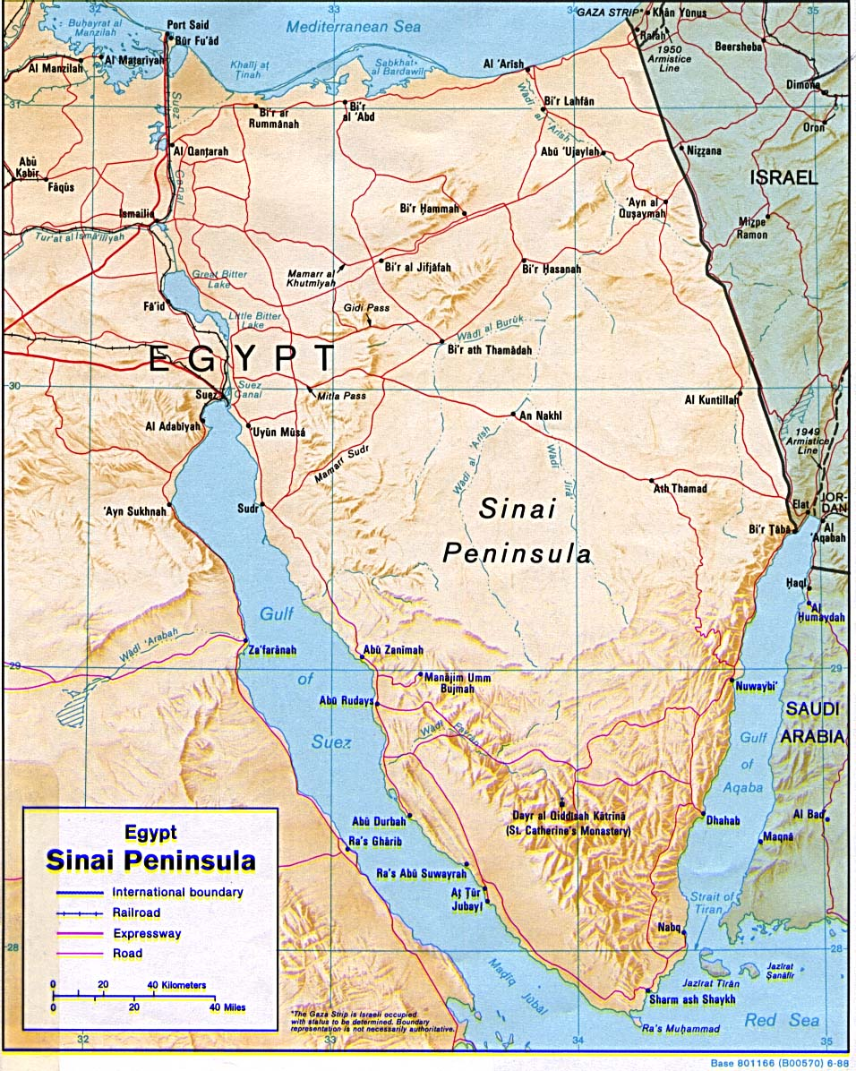 Map Of Egypt Egypt - Sinai Peninsula [Shaded Relief Map] 1992 (242K)