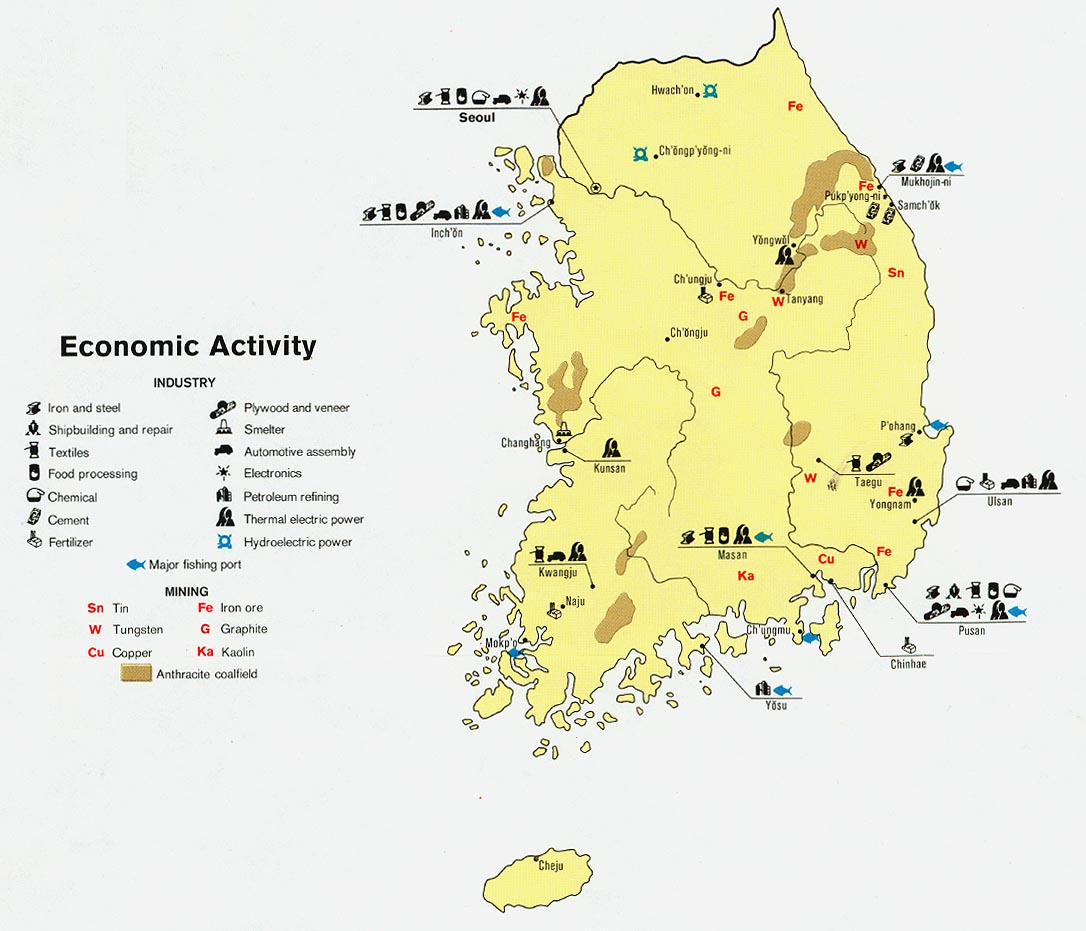 korea south economic activity from map