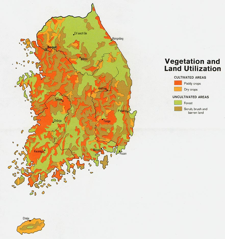 korea south vegetation and land utilization from map