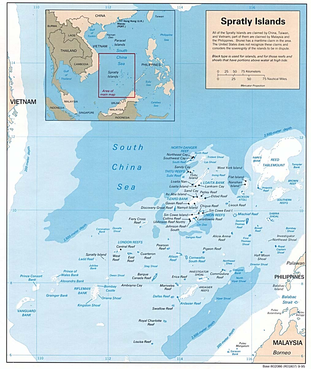 Spratly Islands Maps - Perry-Castañeda Map Collection - UT ... on caspian sea, bay of bengal, arabian sea, sea of japan, map of red sea area, map of baltic sea area, yangtze river, map of caspian sea area, south china sea islands, map of east china sea area, red sea, yellow sea, gobi desert, map of aegean sea area, map of barents sea area, indian ocean, caribbean sea, mediterranean sea, black sea, east china sea, yellow river, map of china and oceans, scarborough shoal, map of eastern sea, map of india and china sea, paracel islands, strait of malacca, spratly islands, map of black sea area, map of adriatic sea area,
