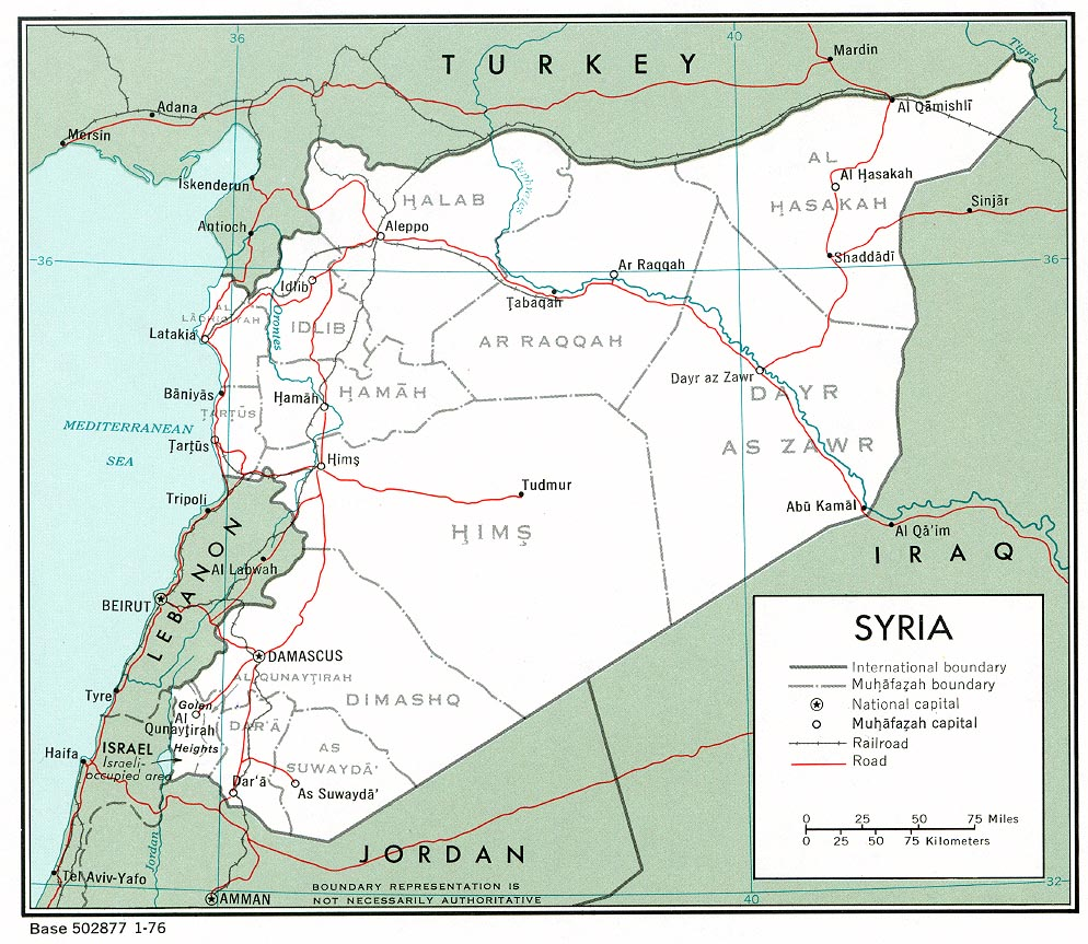 Siria Mapa Politico 1976.
