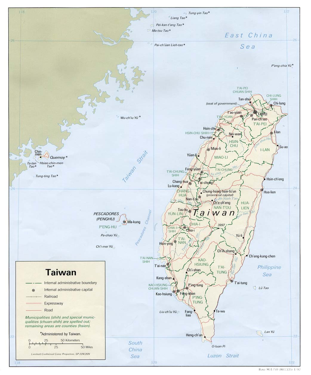 Map Of Taiwan, Taiwan [Political Map] 1992 (140K)