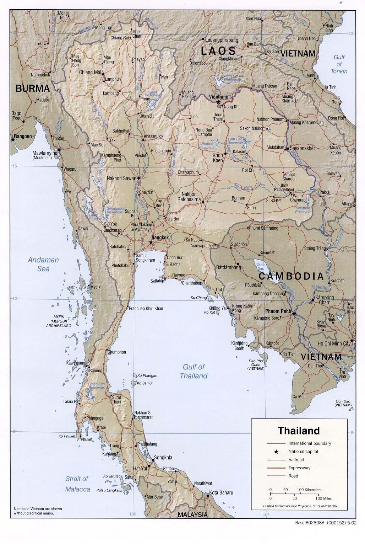 現在のタイの地図