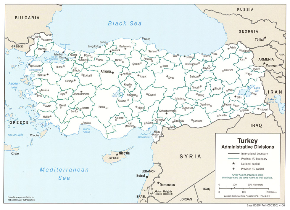 maps turkey administrative divisions