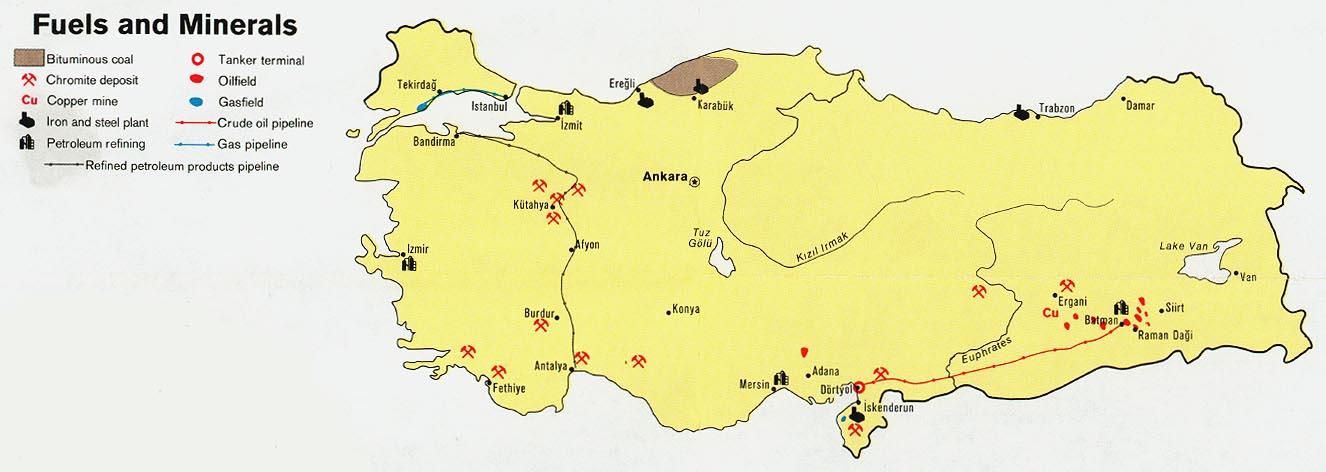 turkey fuels and minerals from map