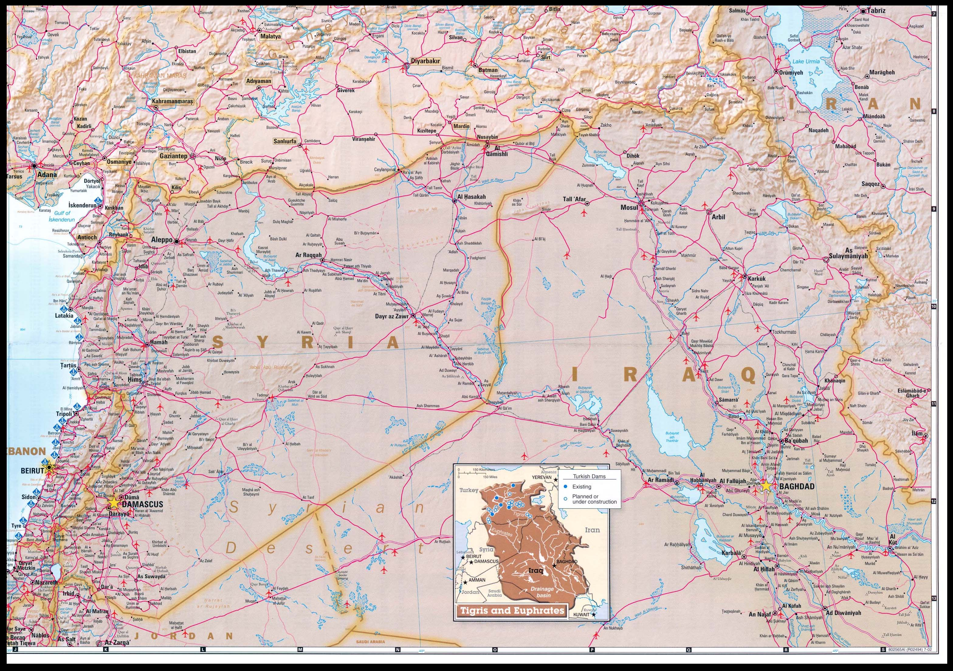 Republic of turkey 2002 perry castaeda map collection ut turkey se includes northern iraq lebanon and syria gumiabroncs Choice Image