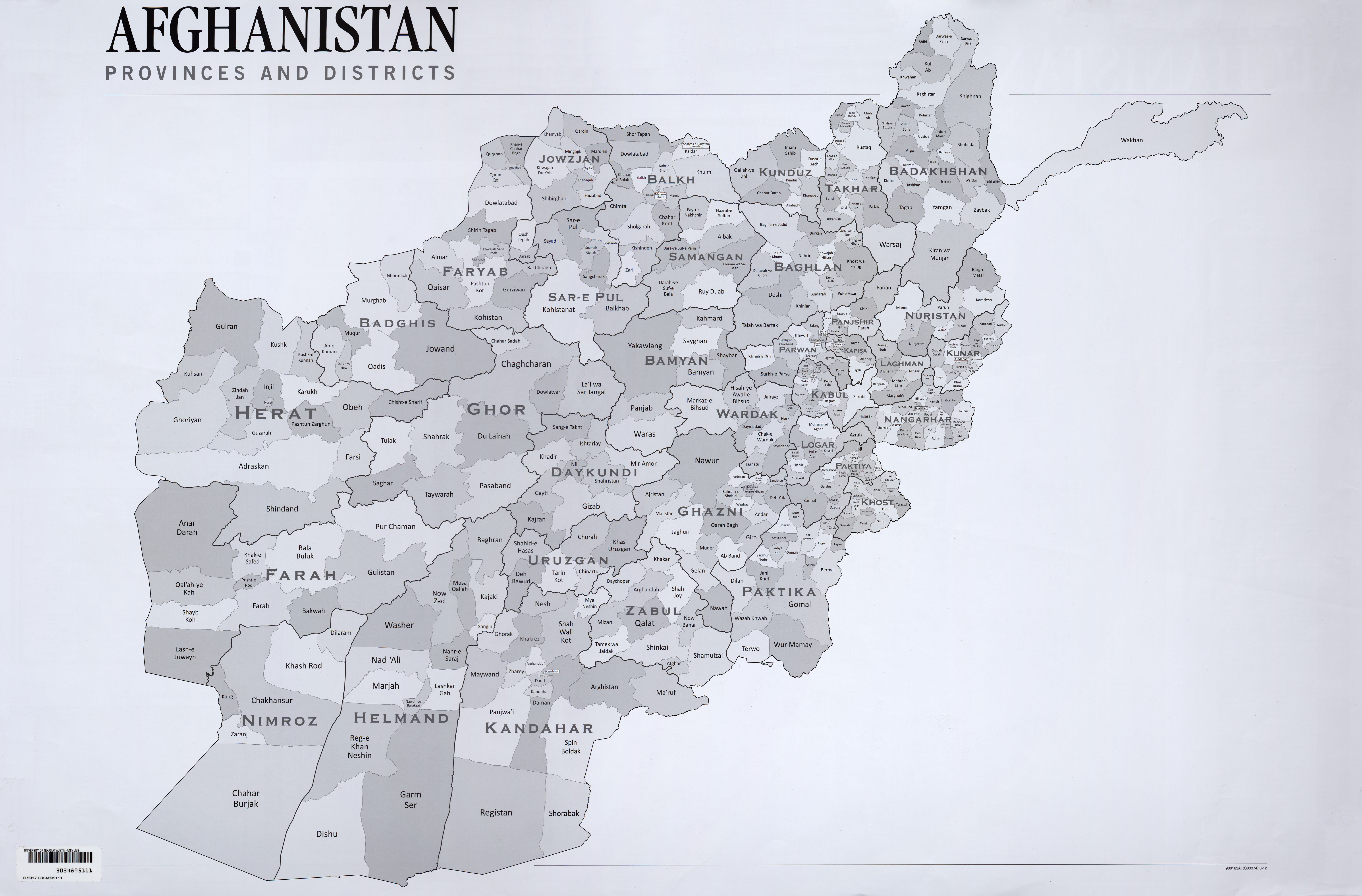 afghanistan map provinces and districts