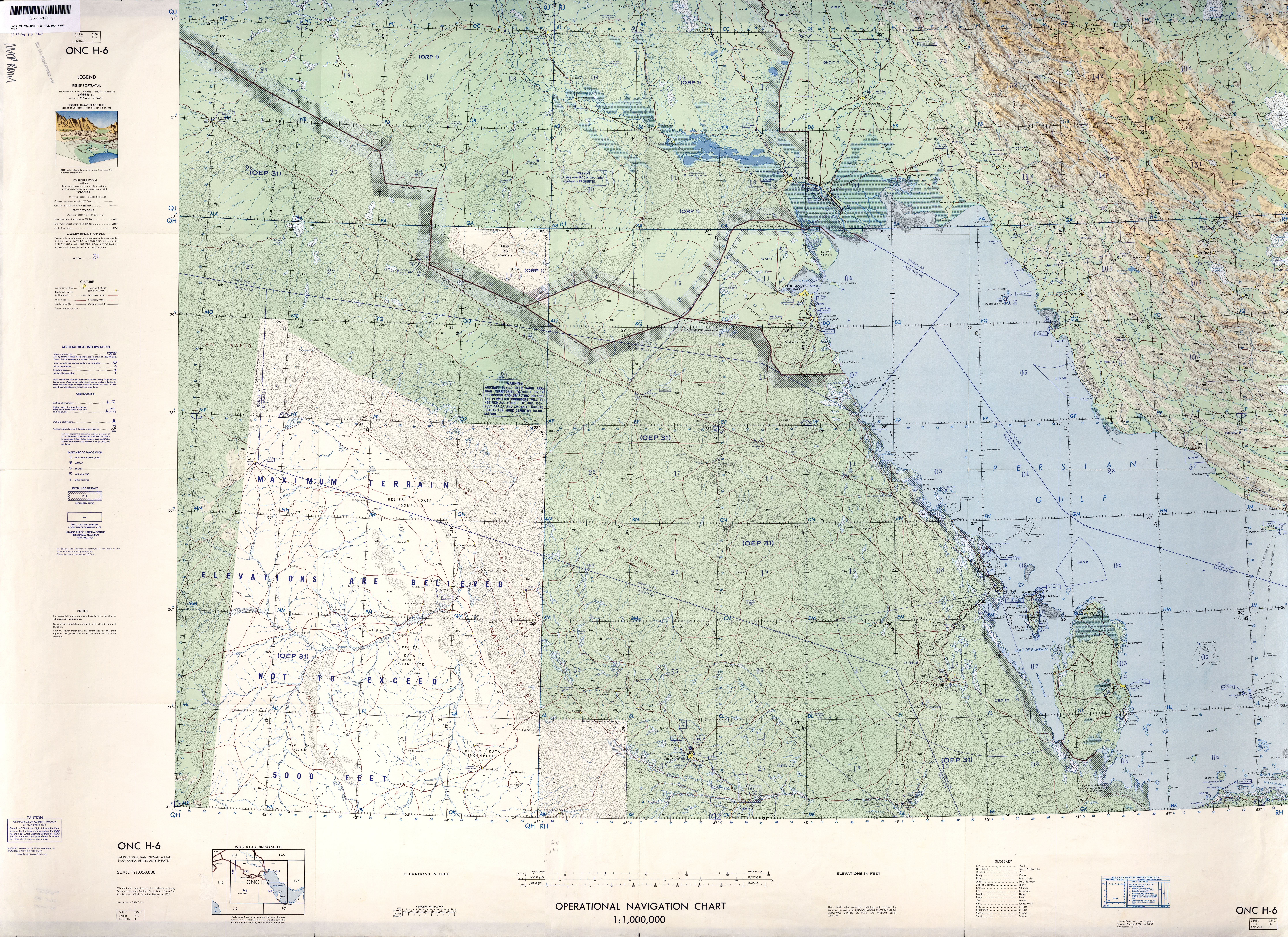 Middle East - Operational Navigation Charts - Perry-Castañeda Map on