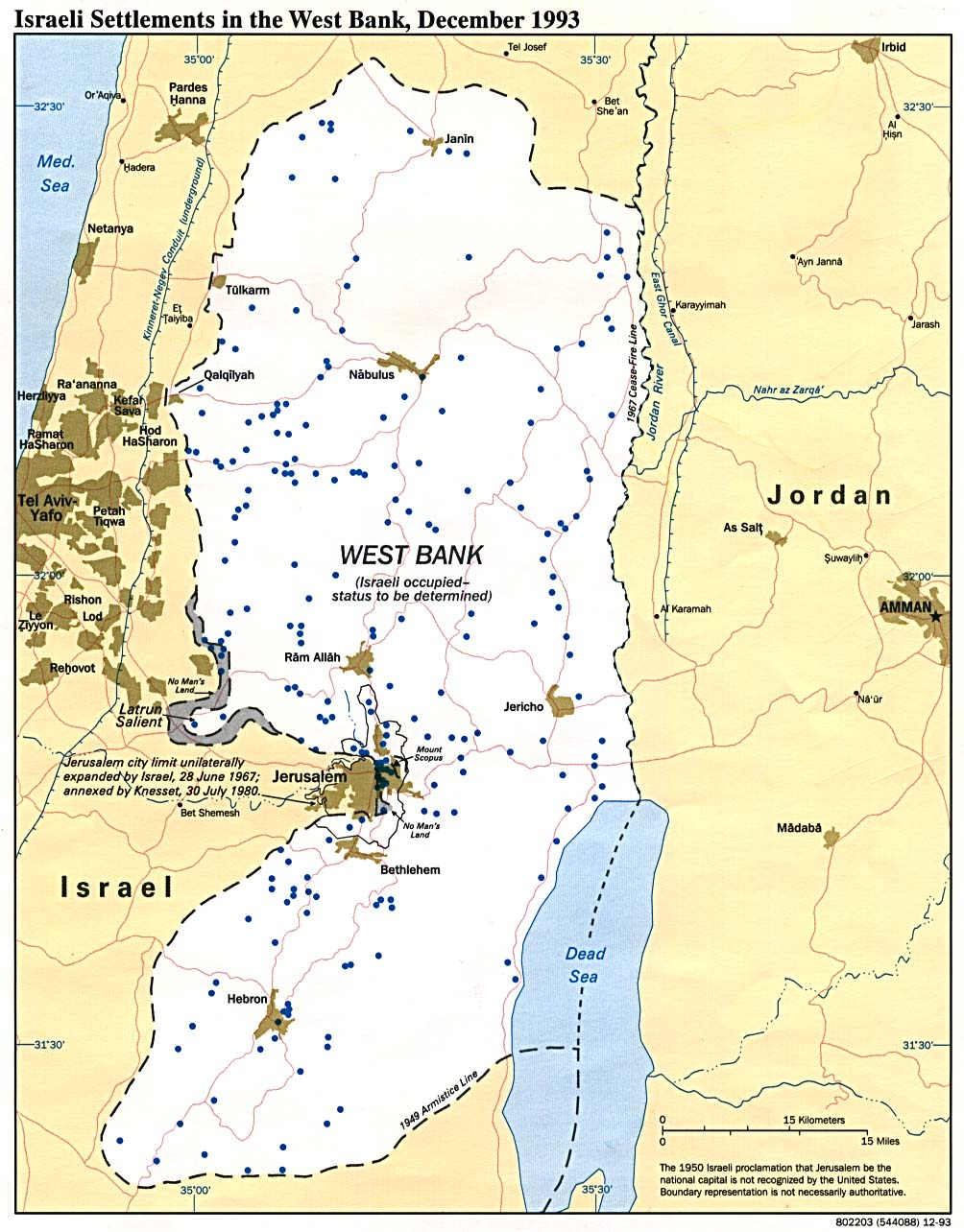 Map Of West Bank and Gaza Strip. Israeli Settlements in the West Bank 1993 (216K)