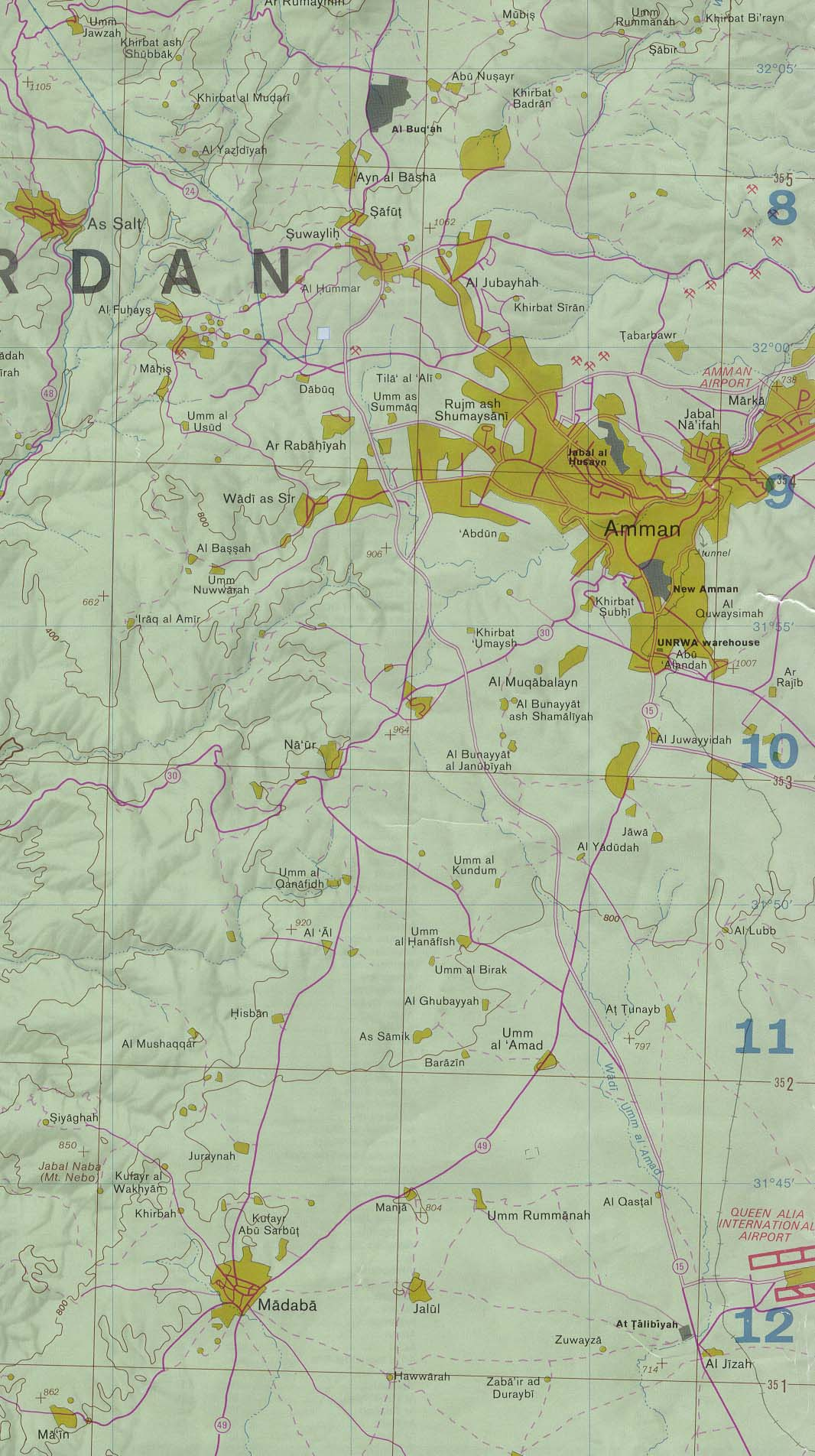 Jordan maps perry castaeda map collection ut library online jordan region from west bank and vicinity 1992 278k and entire map 35mb gumiabroncs Choice Image