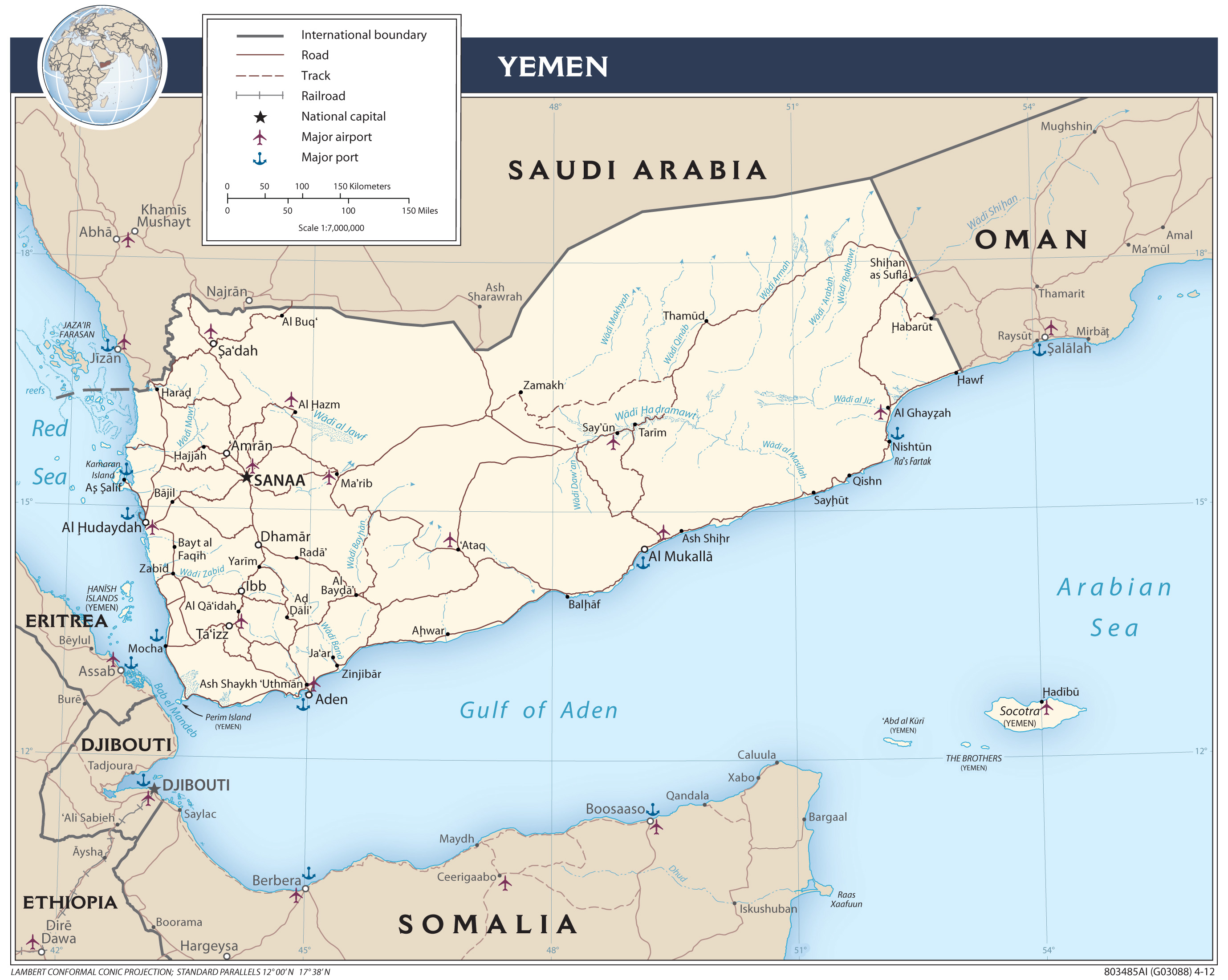 image relating to Printable Maps of the Middle East named Yemen Maps - Perry-Castañeda Map Variety - UT Library On-line