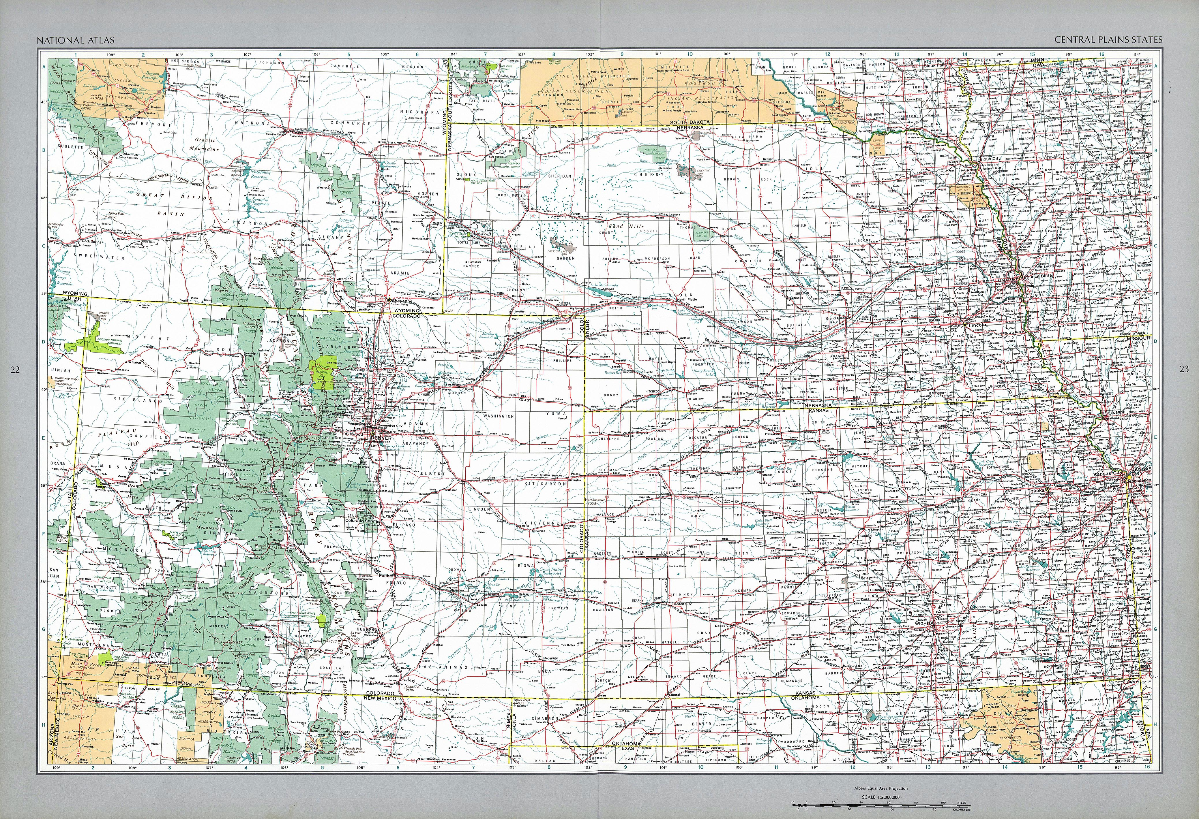 The National Atlas Of The United States Of America Perry - Us central plains map