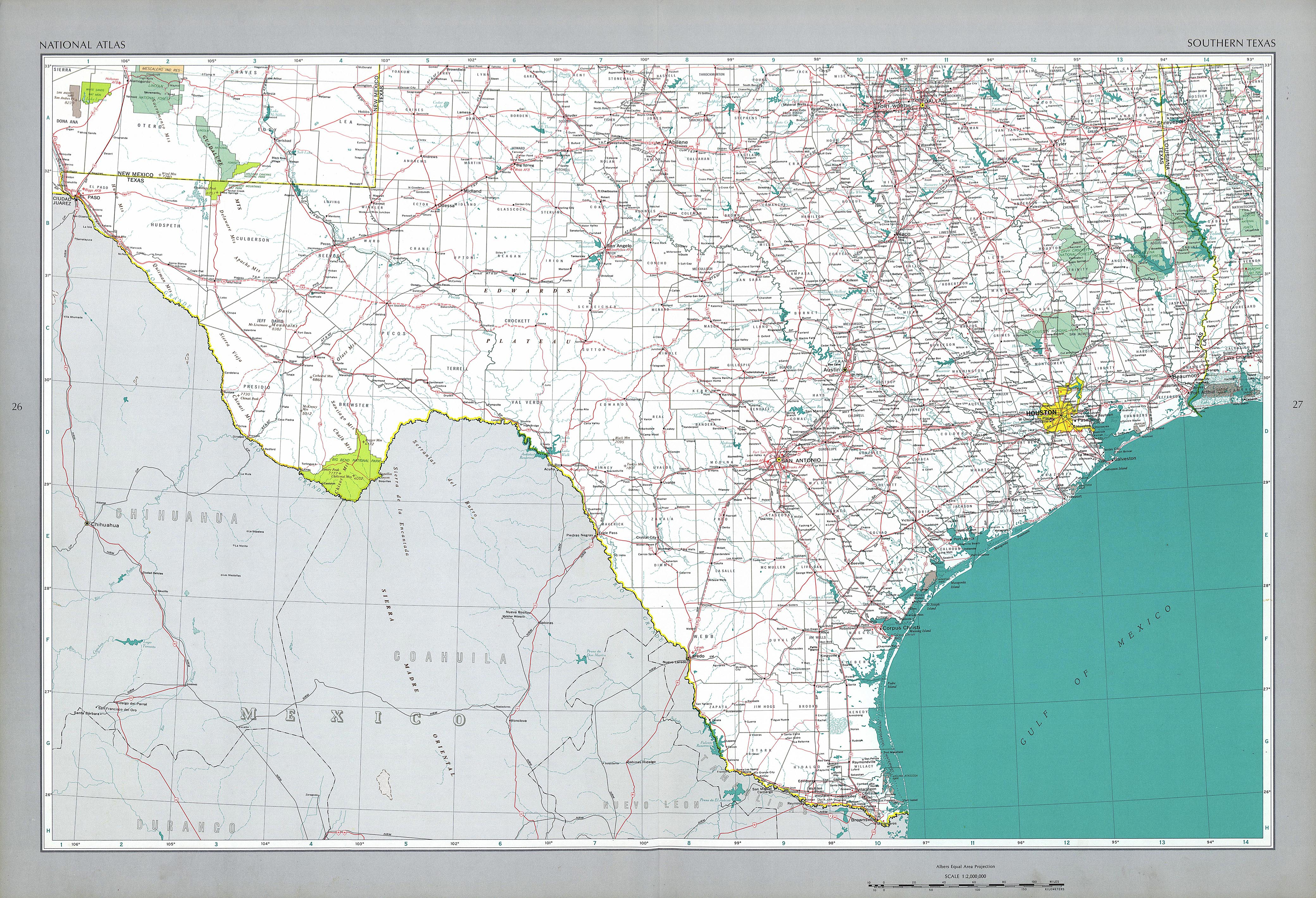The National Atlas Of The United States Of America Perry - Us road map southeast and texas
